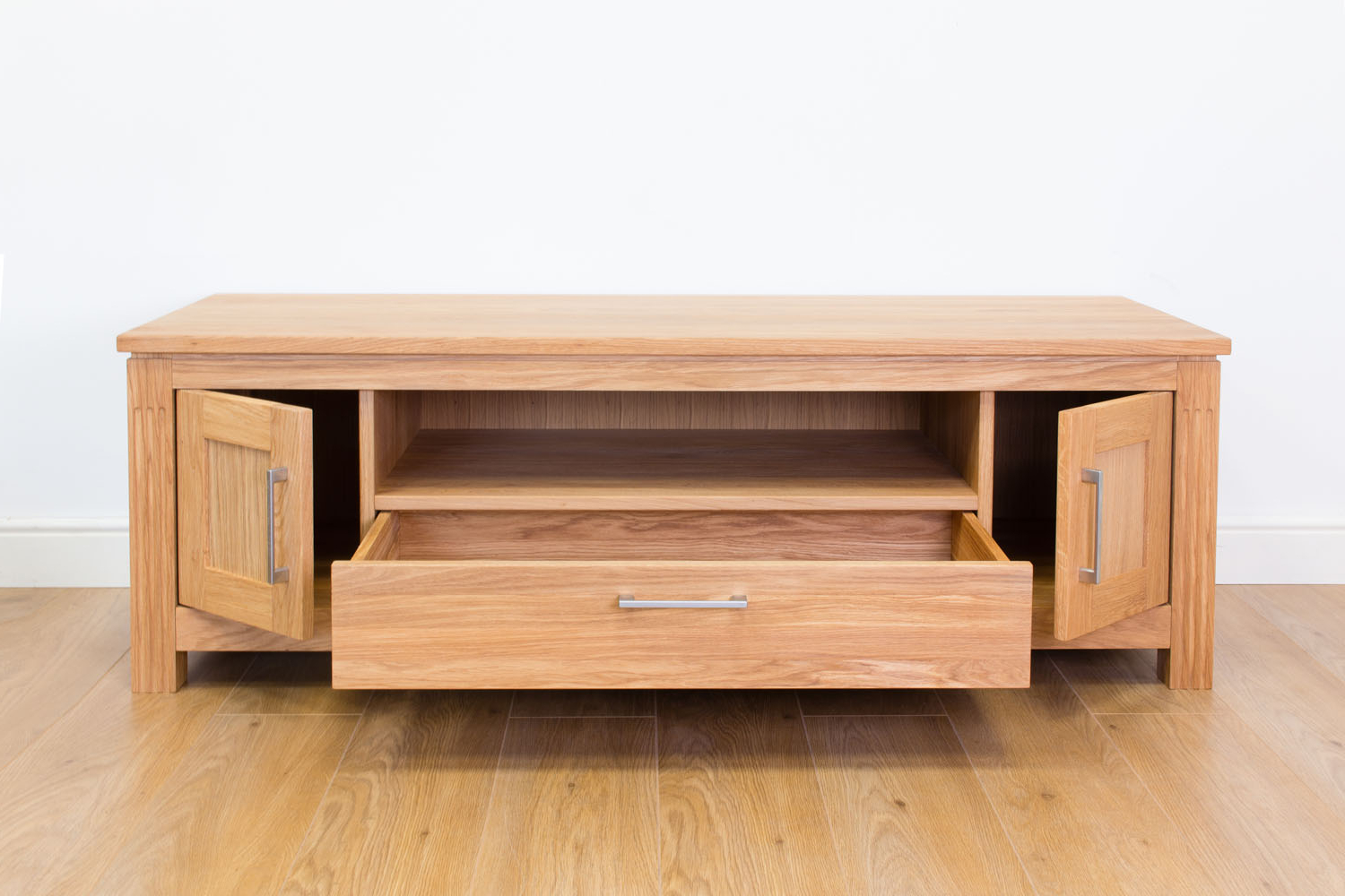 Large Solid Oak Tv Unit 150Cm Wide (View 9 of 20)