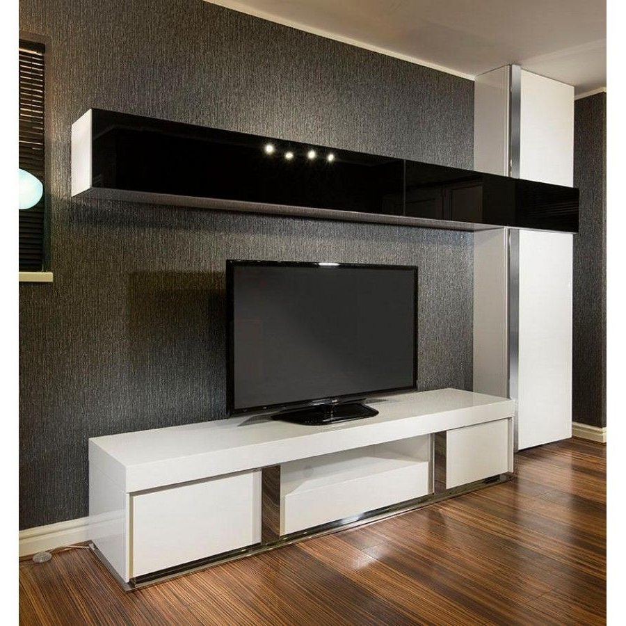 Large Tv Stand Plus Wall Mounted Storage Cabinet Black Glass White Pertaining To Current Glass Fronted Tv Cabinet (View 9 of 20)