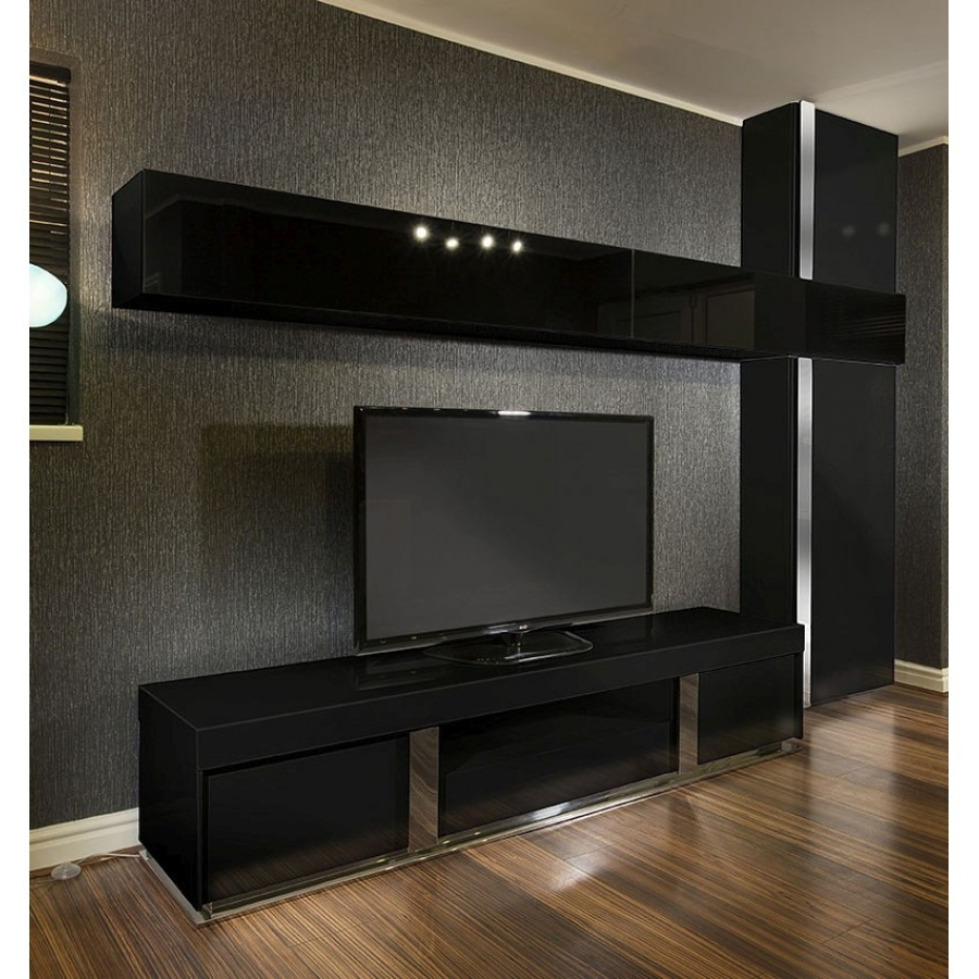 Large Tv Stand + Wall Mounted Storage Cabinet Black Glass Black Inside Preferred Black Gloss Tv Stands (View 10 of 20)
