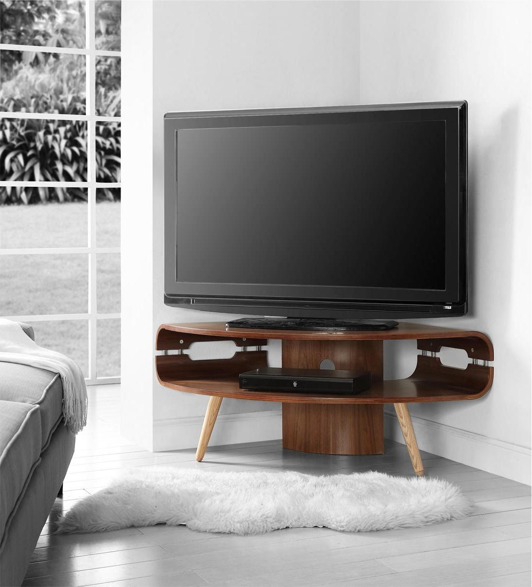 Large Tv Stands Jual Havana Corner Stand For Up To 50 Tvs Walnut With Recent Tv Stands For Large Tvs (Gallery 1 of 20)