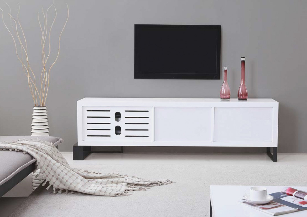Large White Tv Stands Pertaining To Trendy White Tv Cabinet With Drawers Units Plus Bench Together Stands As (View 6 of 20)