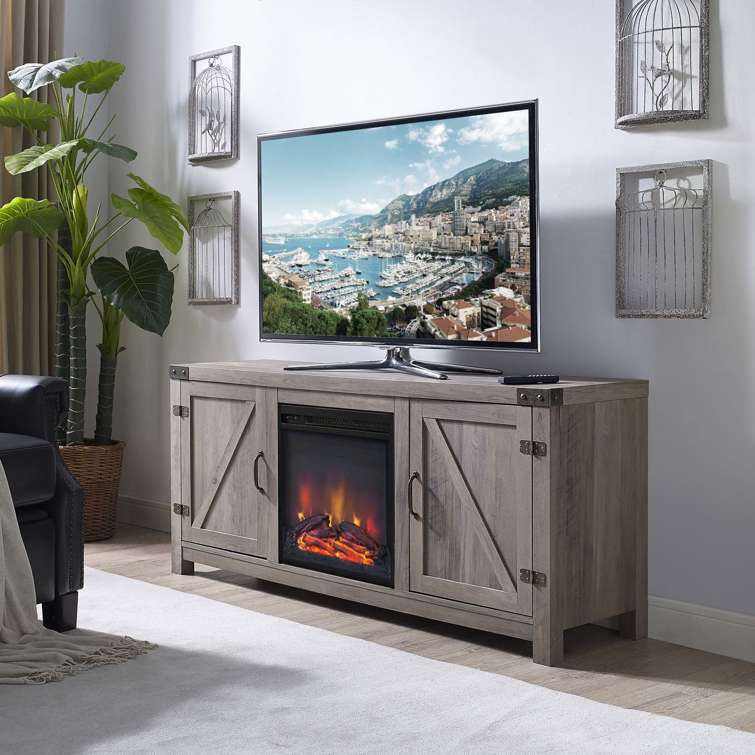 "Latest Amazon: Walker Edison 58"" Barn Door Fireplace Tv Stand – Grey In Kilian Grey 60 Inch Tv Stands (View 13 of 20)"