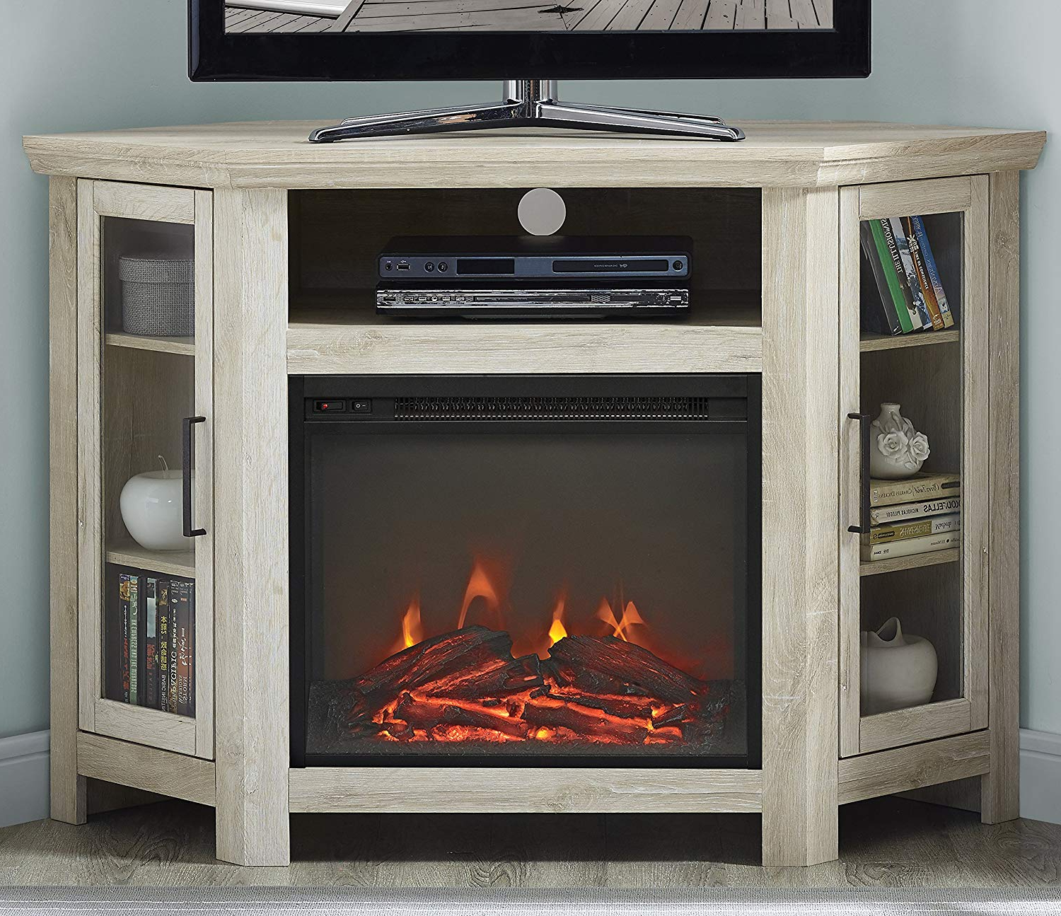 """Latest Amazon: We Furniture 48"""" Wood Corner Fireplace Media Tv Stand Intended For Noah Rustic White 66 Inch Tv Stands (View 6 of 20)"""