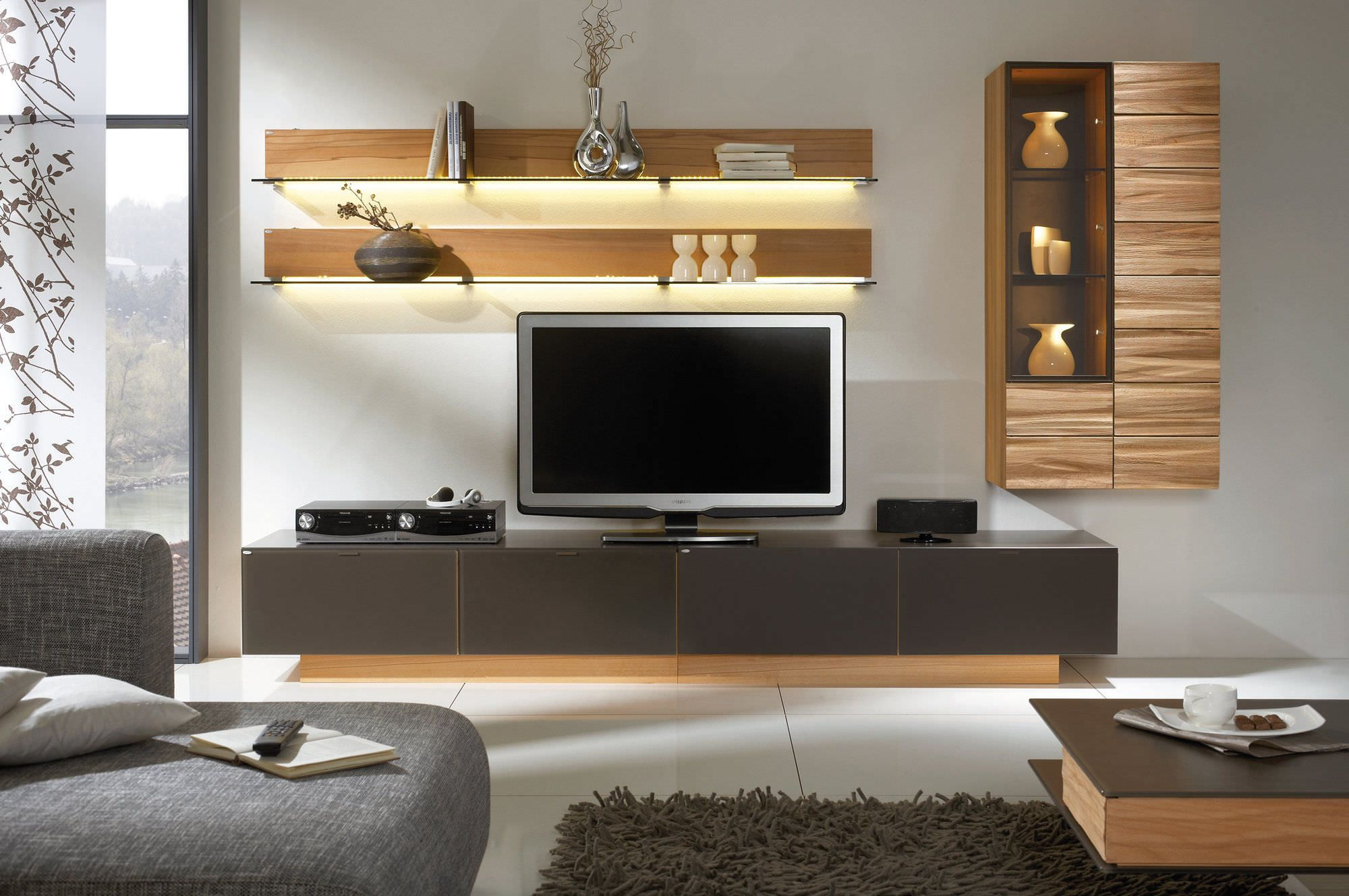 Latest Awesome White Brown Wood Glass Cool Design Contemporary Tv Wall Pertaining To Modern Contemporary Tv Stands (View 6 of 20)