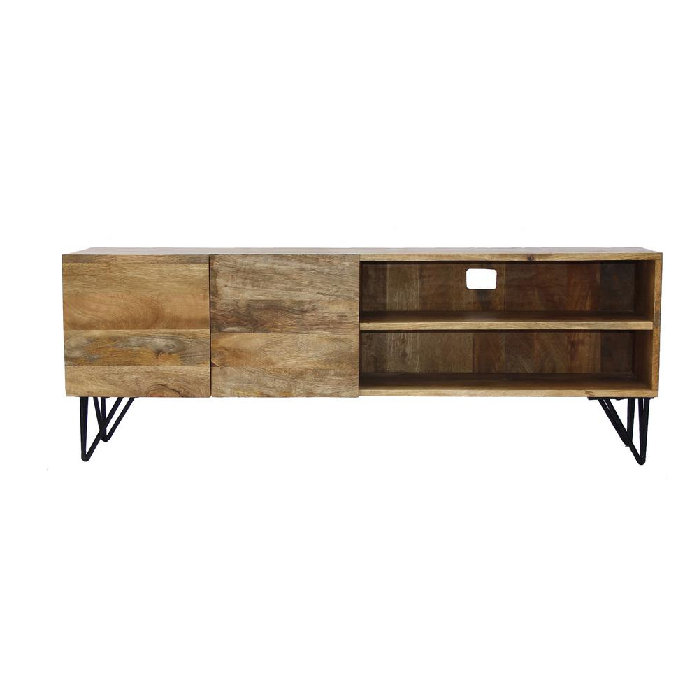 Latest Benzara 2 Open Shelved Brown Finish Tv Unit In Mango Wood Upt 38930 With Mango Tv Units (View 7 of 20)