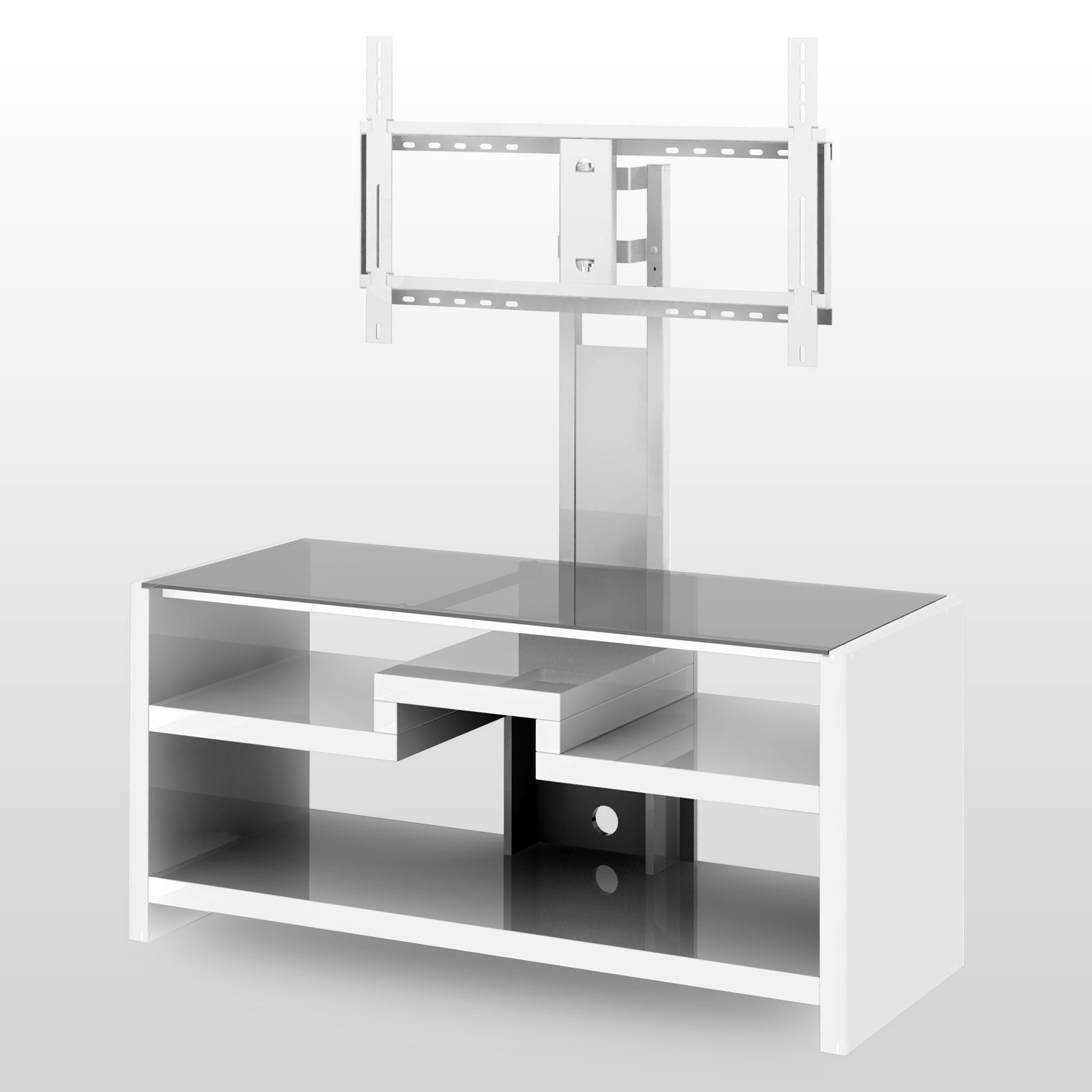 Latest Contemporary White Glass Flat Screen Tv Stand With Mount Of Stylish Intended For White Tv Stands For Flat Screens (View 6 of 20)