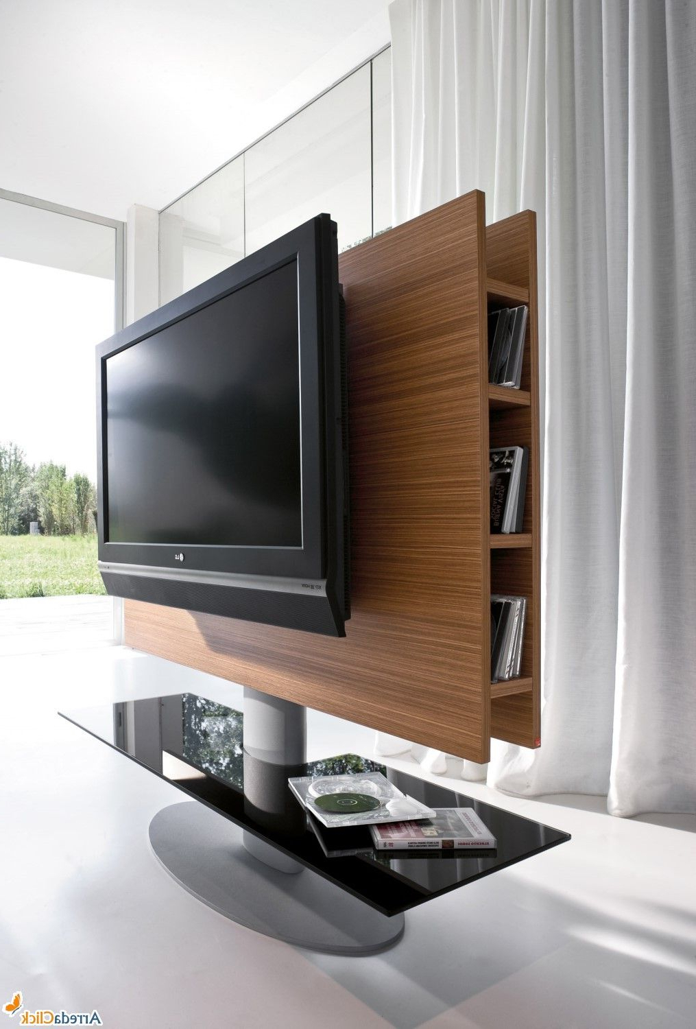 Latest Cortes Wooden Swivel Tv Stand – Arredaclick (Gallery 4 of 20)
