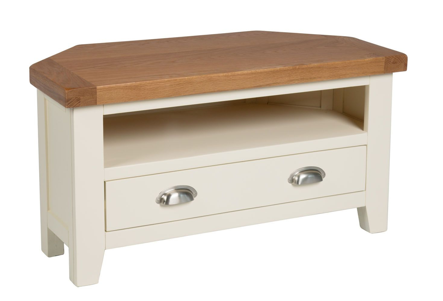 Latest Country Oak Cream Painted Corner Tv Unit With Drawer – Free Delivery For Painted Corner Tv Cabinets (View 7 of 20)