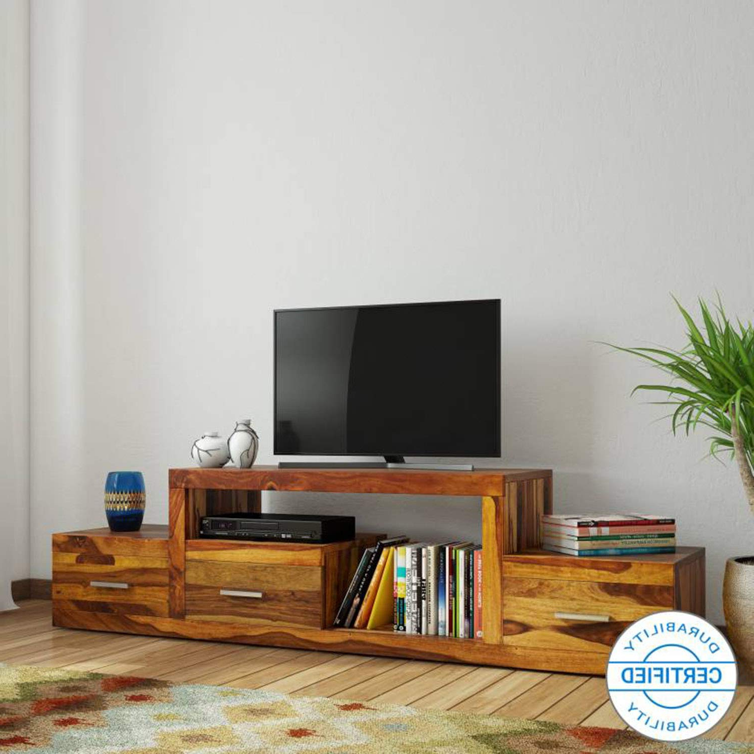 Latest Daintree Sheesham Wood 1.75 Meter Natural Teak Finish 3 Draw Nadia Within Daintree Tv Stands (Gallery 17 of 20)