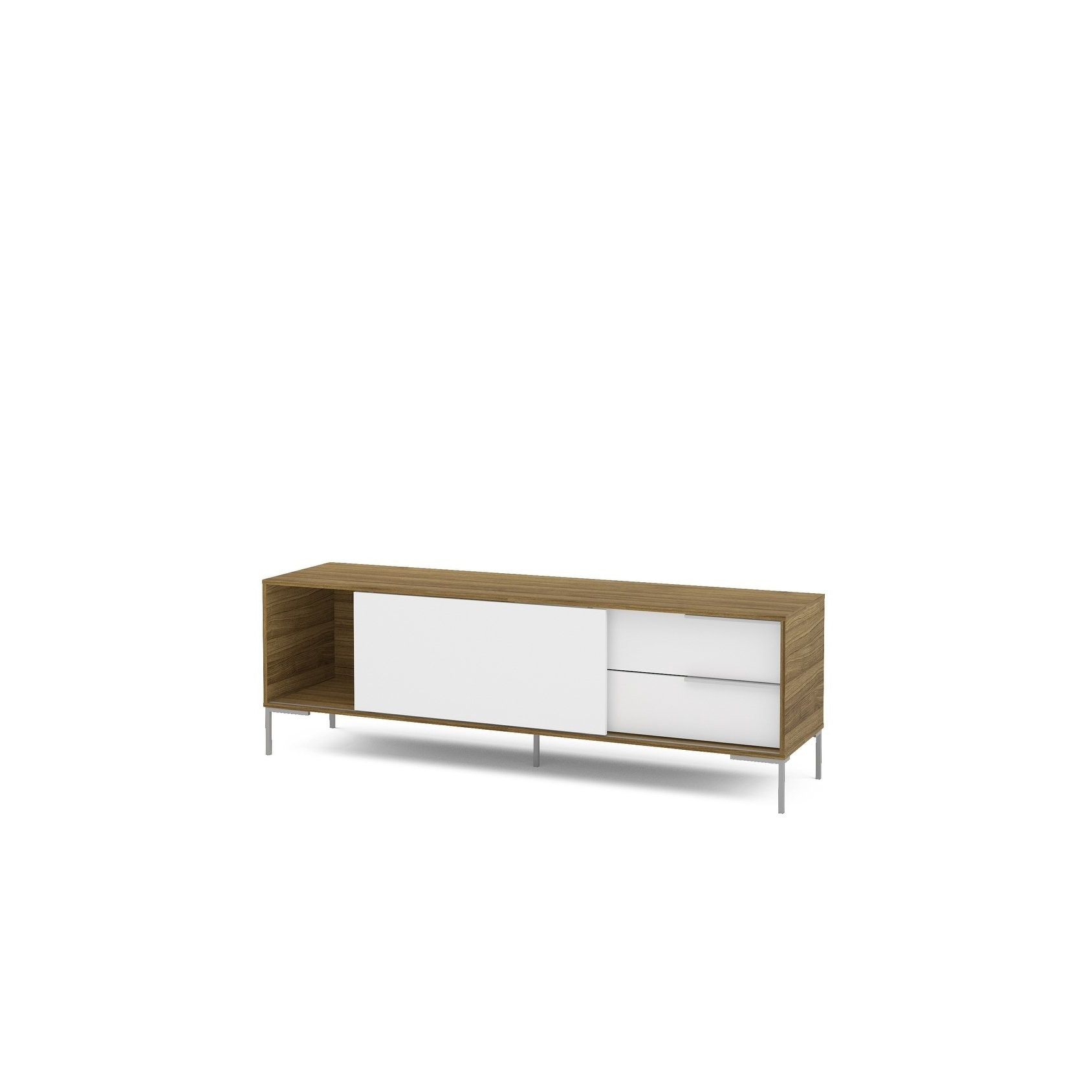 Latest Denver Tv Stands With Shop Polifurniture Denver 70 Inch Tv Stand, Walnut And White – Free (View 10 of 20)