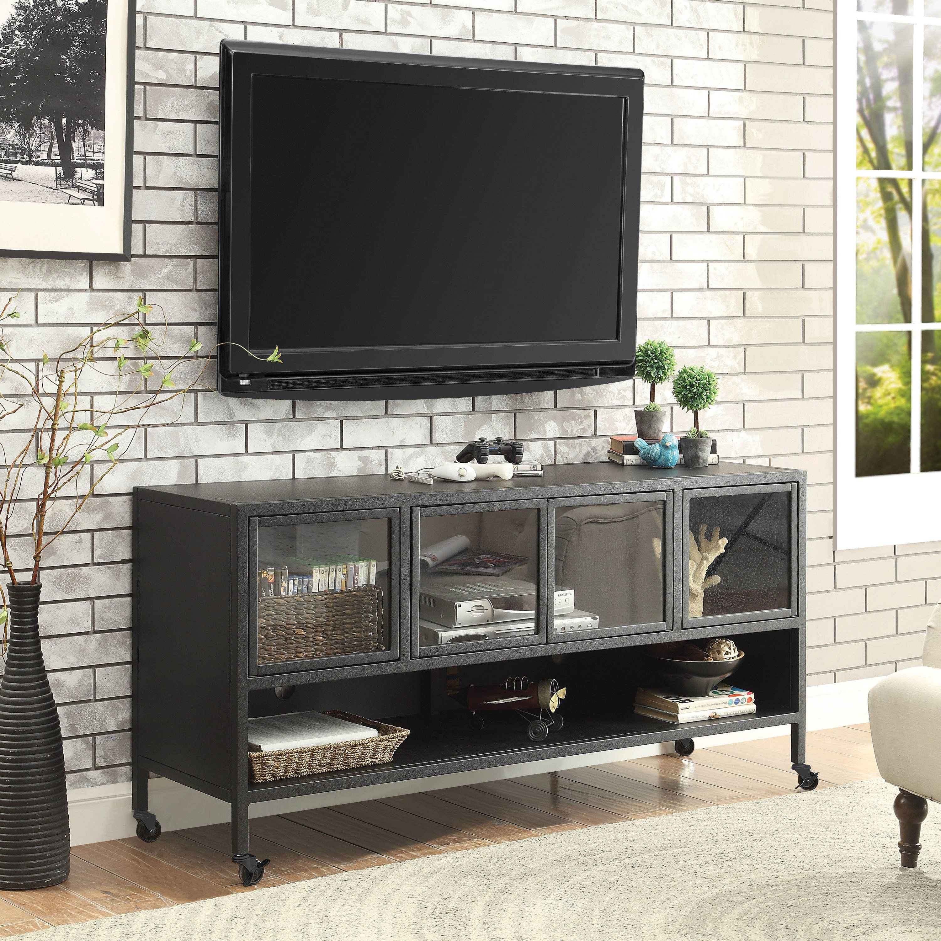 Latest Industrial Metal Tv Stands Regarding Furniture Of America Beckham Industrial Metal Tv Stand  (View 9 of 20)