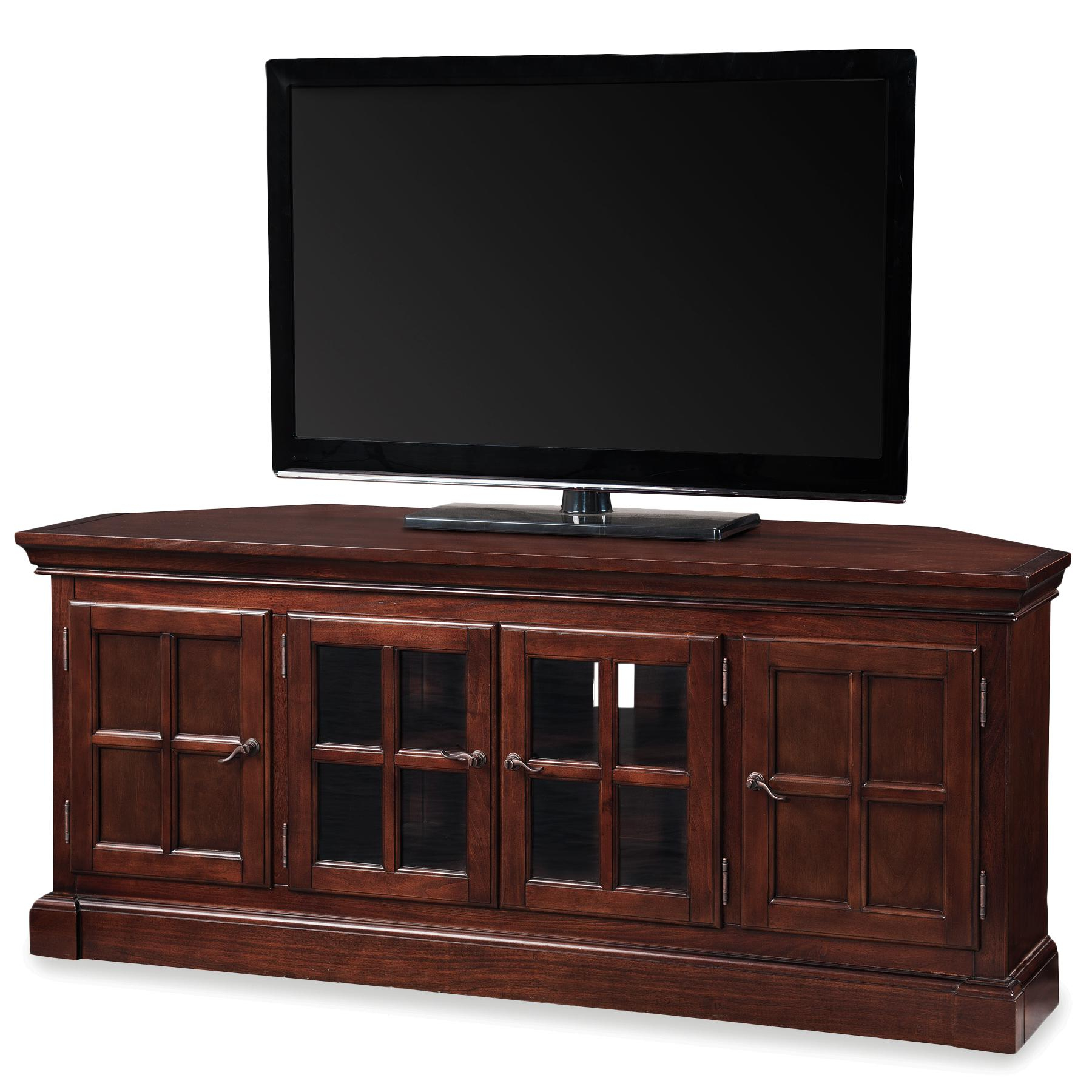 "Latest Leick 81586 Bella Maison 56"" Corner Tv Stand With Lever Handles, Chocolate Cherry Inside Corner Wooden Tv Stands (View 8 of 20)"