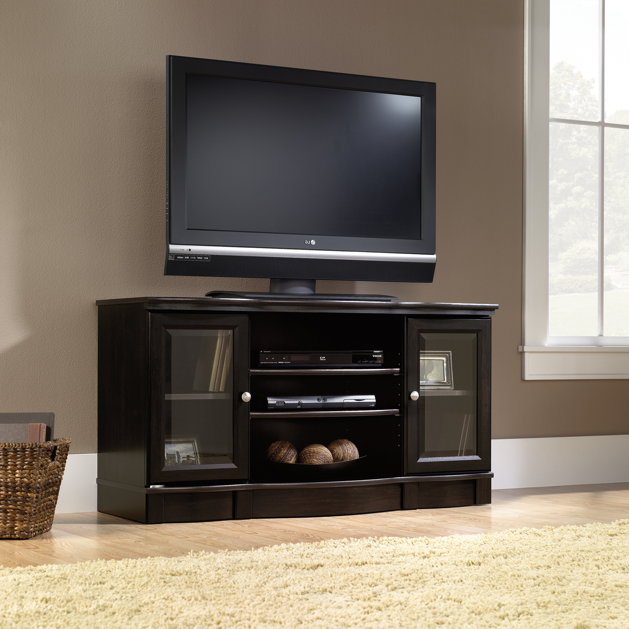 Latest Long Black Tv Stands Regarding Sauder Select (View 9 of 20)