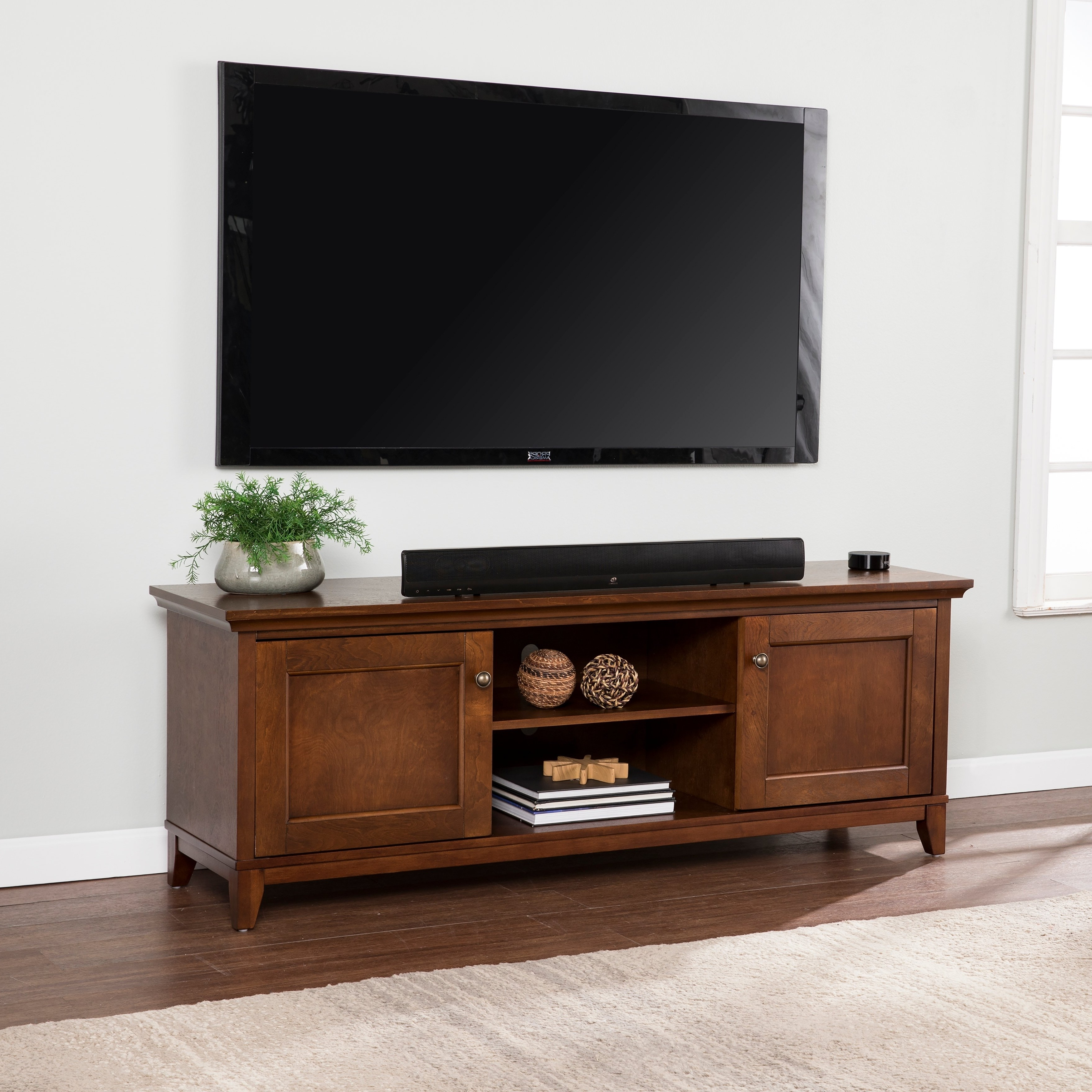 Latest Maple Tv Stands For Flat Screens In Shop Copper Grove Heliotrope Whiskey Maple Tv/ Media Stand – On Sale (View 7 of 20)
