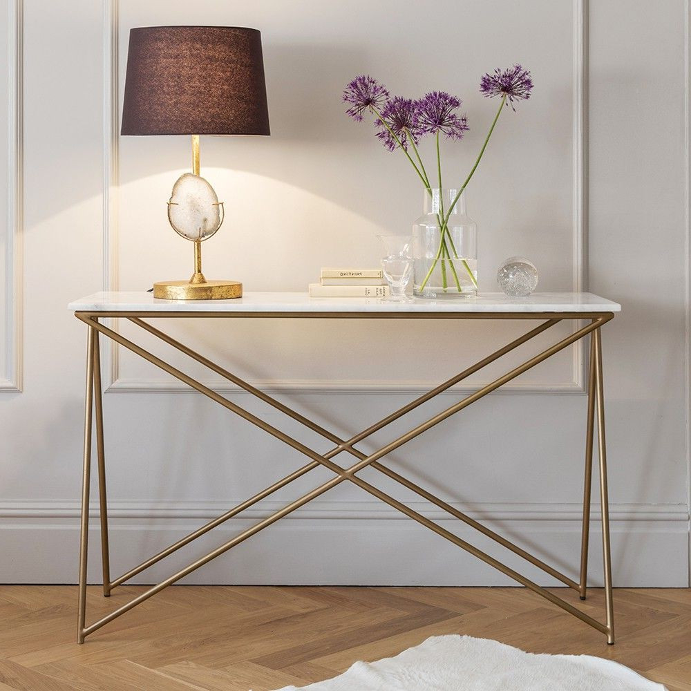 Latest Marble Top Sofa Table – Sofa Ideas In Parsons White Marble Top & Brass Base 48x16 Console Tables (Gallery 11 of 20)