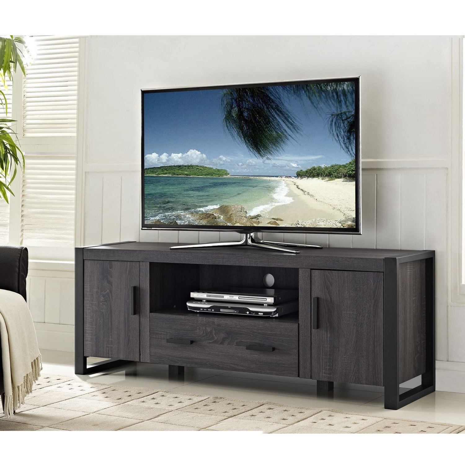 "Latest Modern Tv Stands For 60 Inch Tvs With We Furniture 60"" Grey Wood Tv Stand Console (View 6 of 20)"