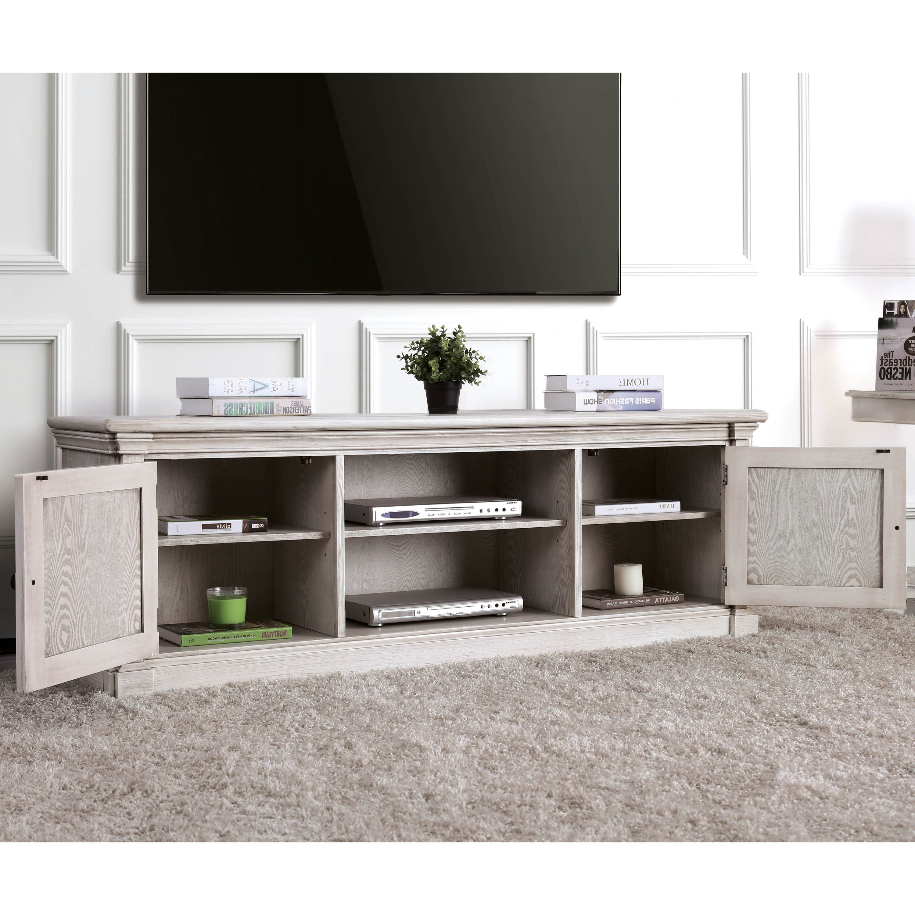 Latest Rustic White Tv Stands With Regard To Shop Furniture Of America Lyle Rustic Antique White Tv Stand – Free (View 7 of 20)