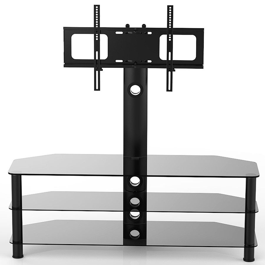 Latest Smoked Glass Tv Stands Pertaining To Vivanco Brisa 120Cm Glass Tv Stand With Bracket Black (View 11 of 20)