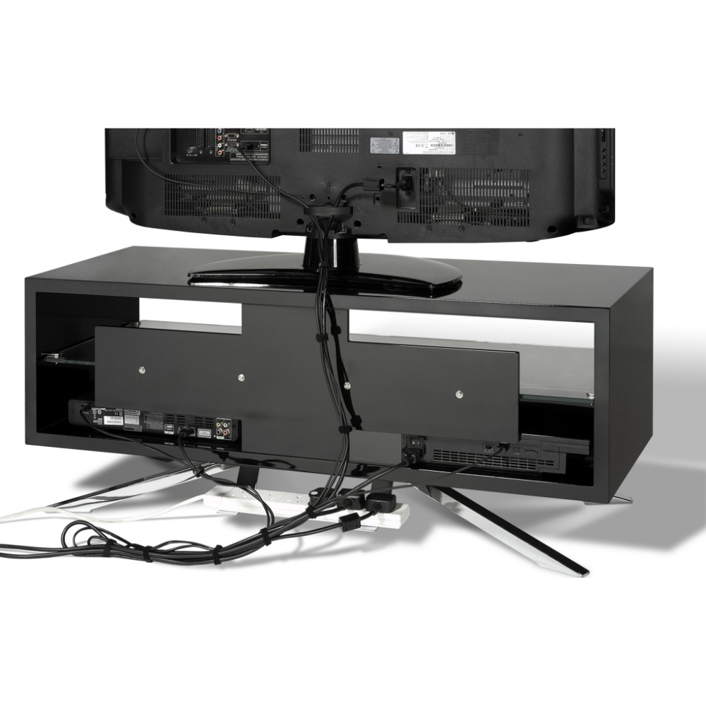 Latest Techlink Arena Tv Stands Regarding Chrome Plated Pyramidal Base; Cable Management And Power Strip (Gallery 12 of 20)