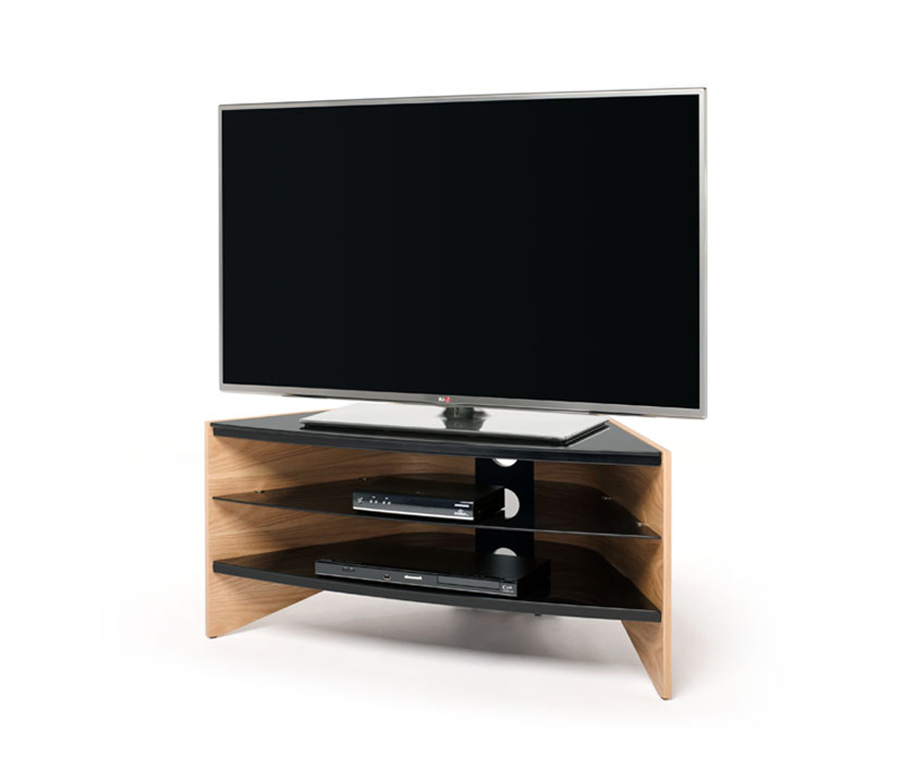 Latest Techlink Riva Rv100Lo Corner Tv Stand With Curved Light Oak Side Inside Techlink Riva Tv Stands (Gallery 11 of 20)