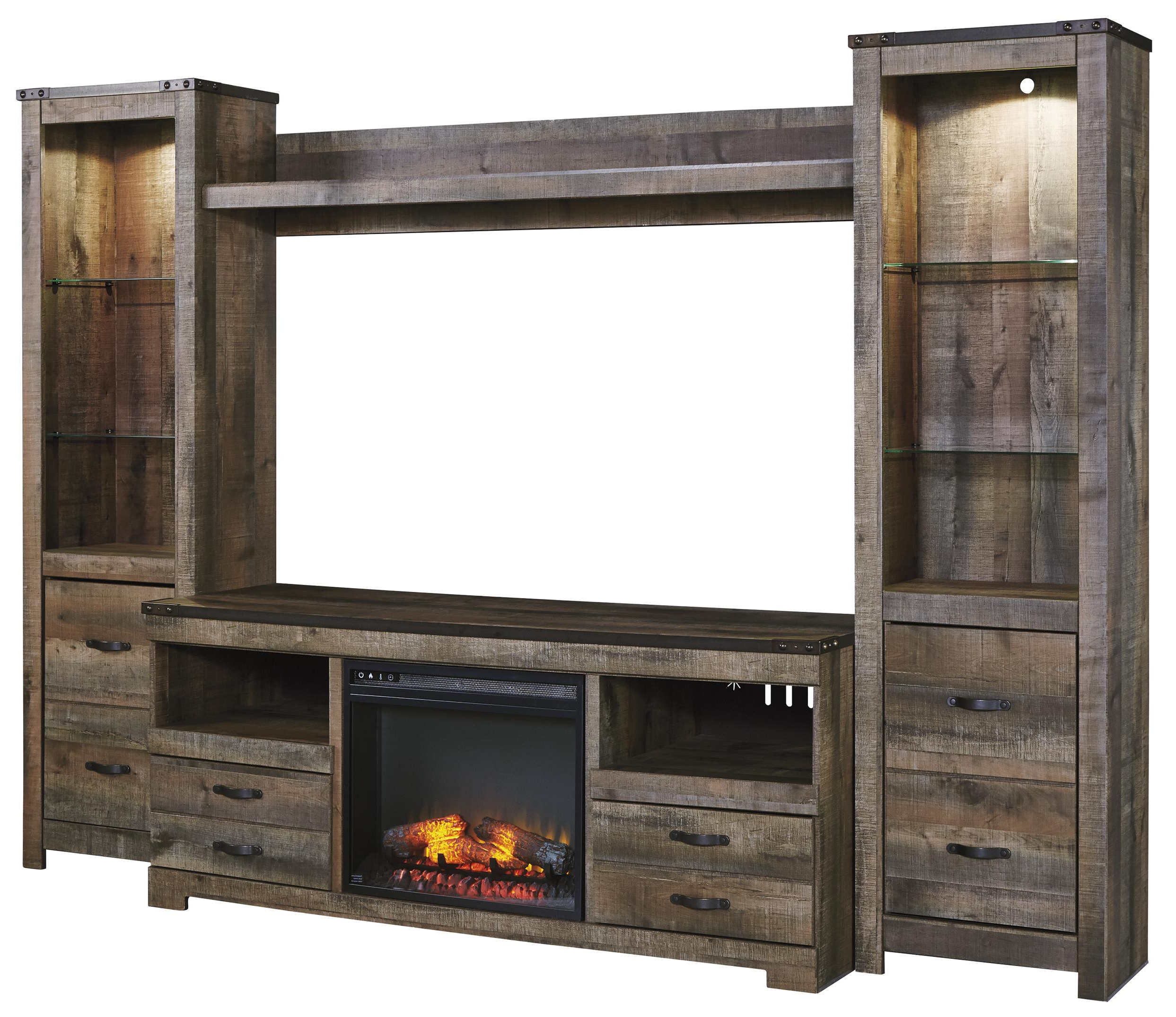 Latest Tv Stands And Bookshelf With Urban Rustic Rustic Large Tv Stand W/ Fireplace Insert, 2 Tall Piers (Gallery 17 of 20)