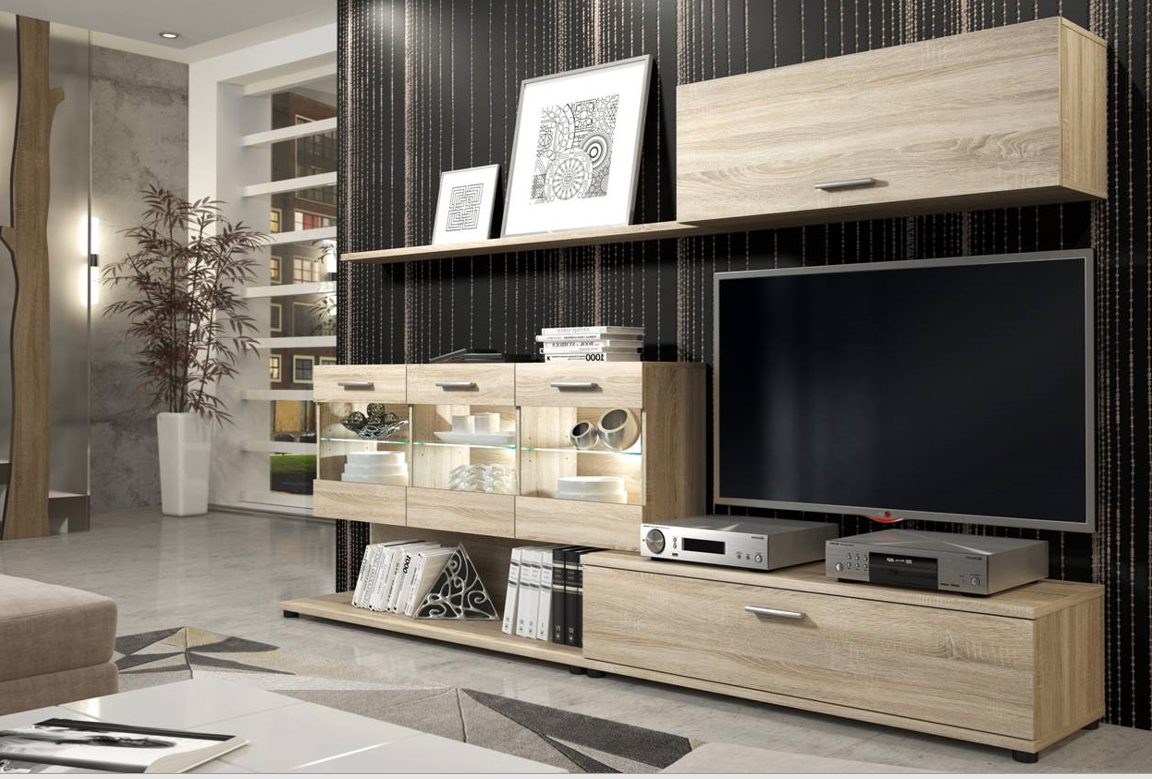 Latest Vetro Oak Effect Tv Cabinet Entertainment Wall Unit P6dsrb With Tv Entertainment Wall Units (View 8 of 20)