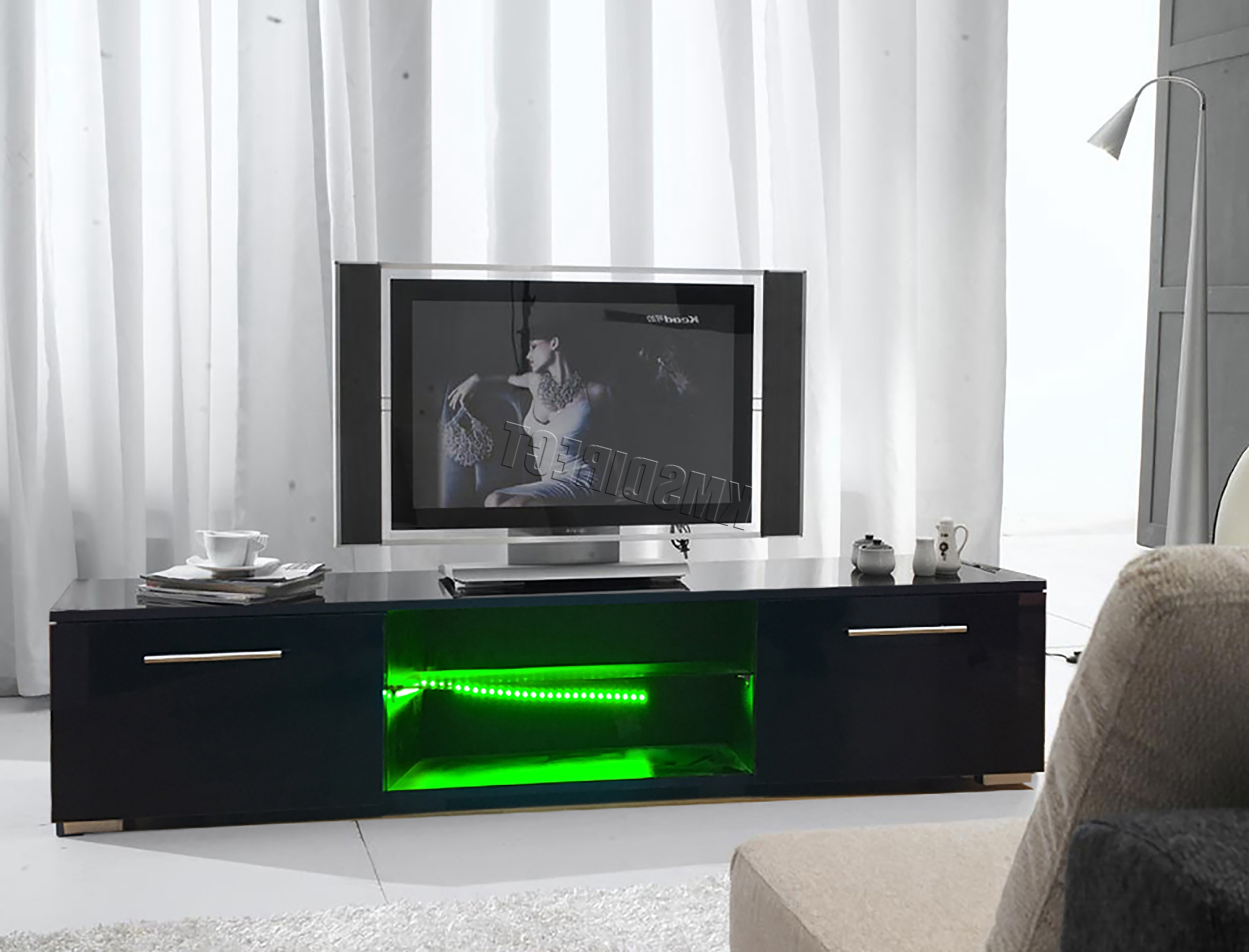 Latest Westwood Modern Led Tv Unit Stand Cabinet – High Gloss Doors Matte Inside Led Tv Cabinets (View 5 of 20)