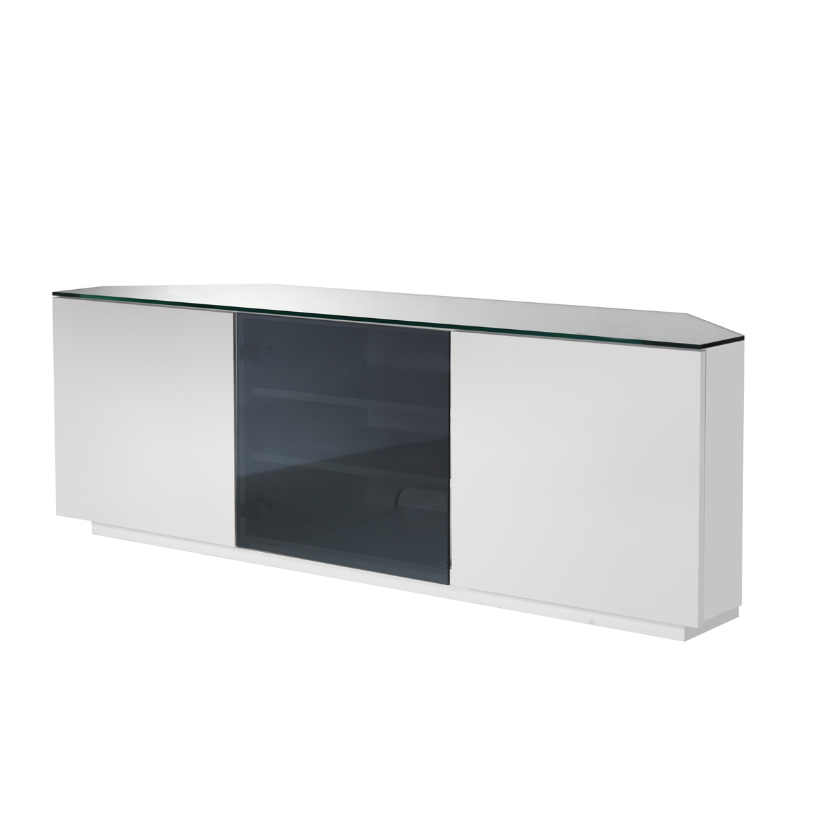 Latest White Gloss Corner Tv Stands With Ukcf Milan White Gloss & Black Glass Corner Tv Stand 150cm (View 3 of 20)