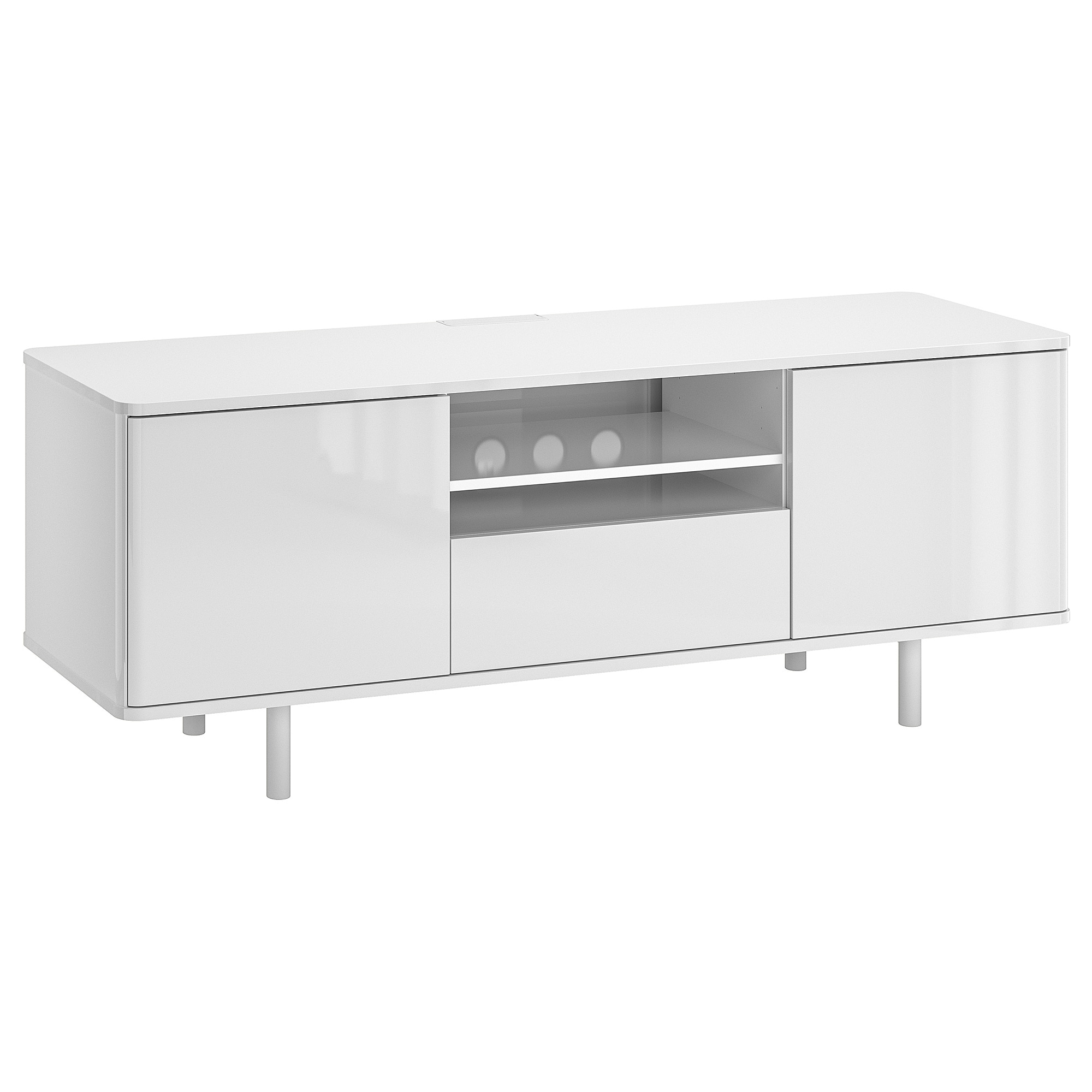 Latest White Gloss Tv Benches With Regard To Mostorp Tv Bench High Gloss White 160 X 47 X 60 Cm – Ikea (View 8 of 20)