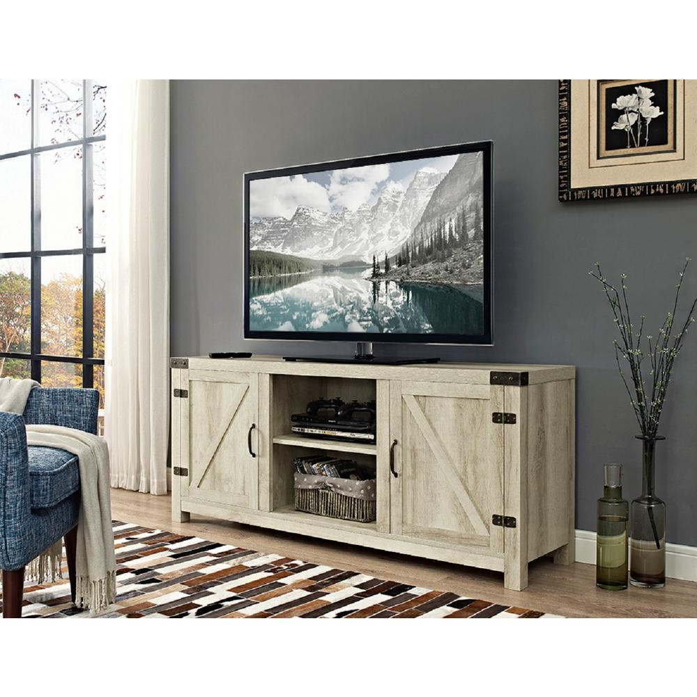 Latest White Wood Tv Stands With Walker Edison Furniture Company 58 In. Barn Door Tv Stand With Side (Gallery 4 of 20)