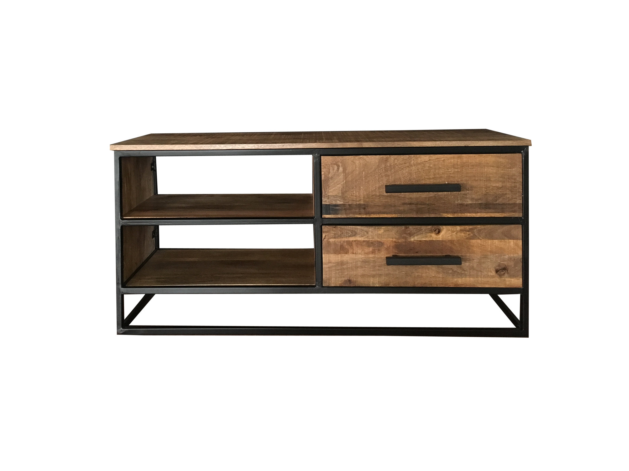 Latest Wood And Metal Tv Stands Pertaining To Industrial Style Light Mango Wood 2 Drawer Tv Stand/media Unit With (Gallery 3 of 20)