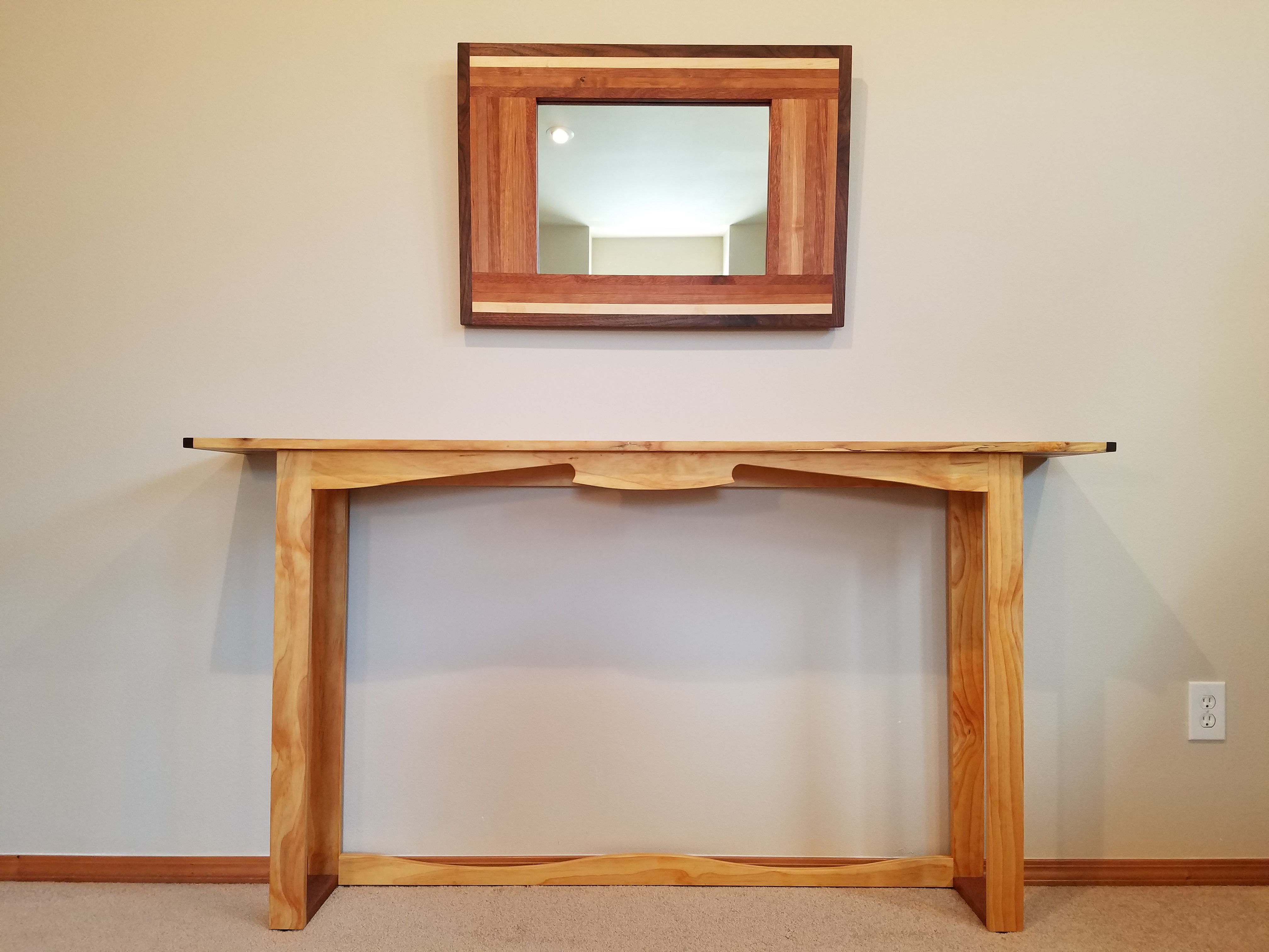 Latest Wood Console Table With A Live Edge And Mirror — Handmade Natural In Natural Wood Mirrored Media Console Tables (View 9 of 20)