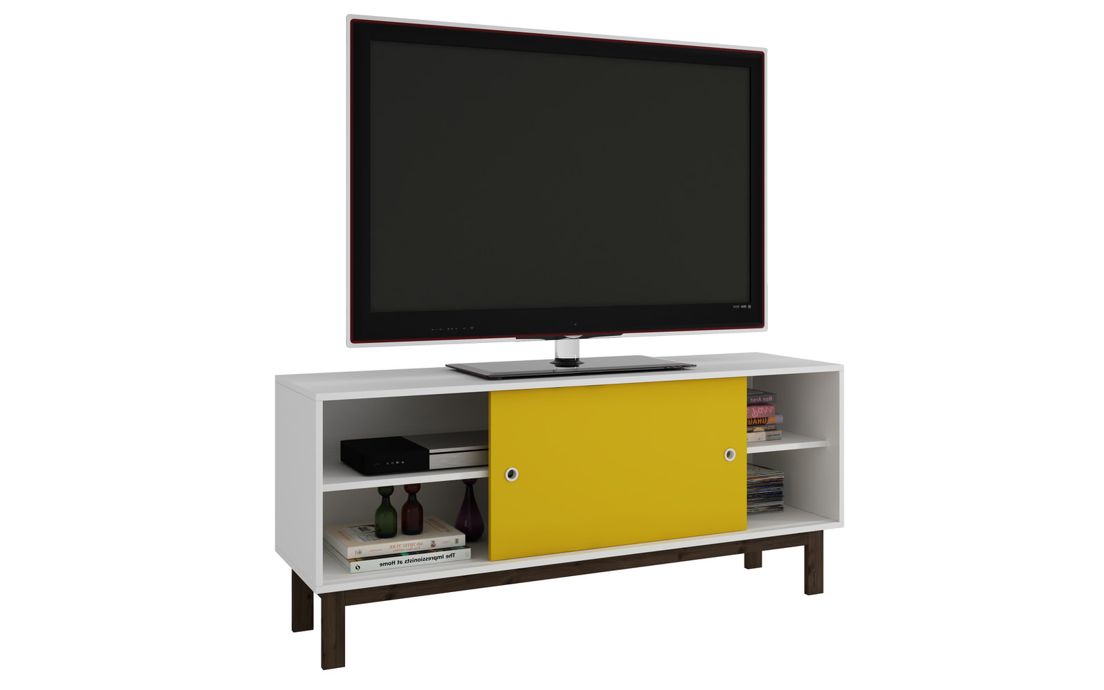 Latest Yellow Tv Stands Intended For Solna White & Yellow Splayed Leg Tv Standmanhattan Comfort (View 4 of 20)