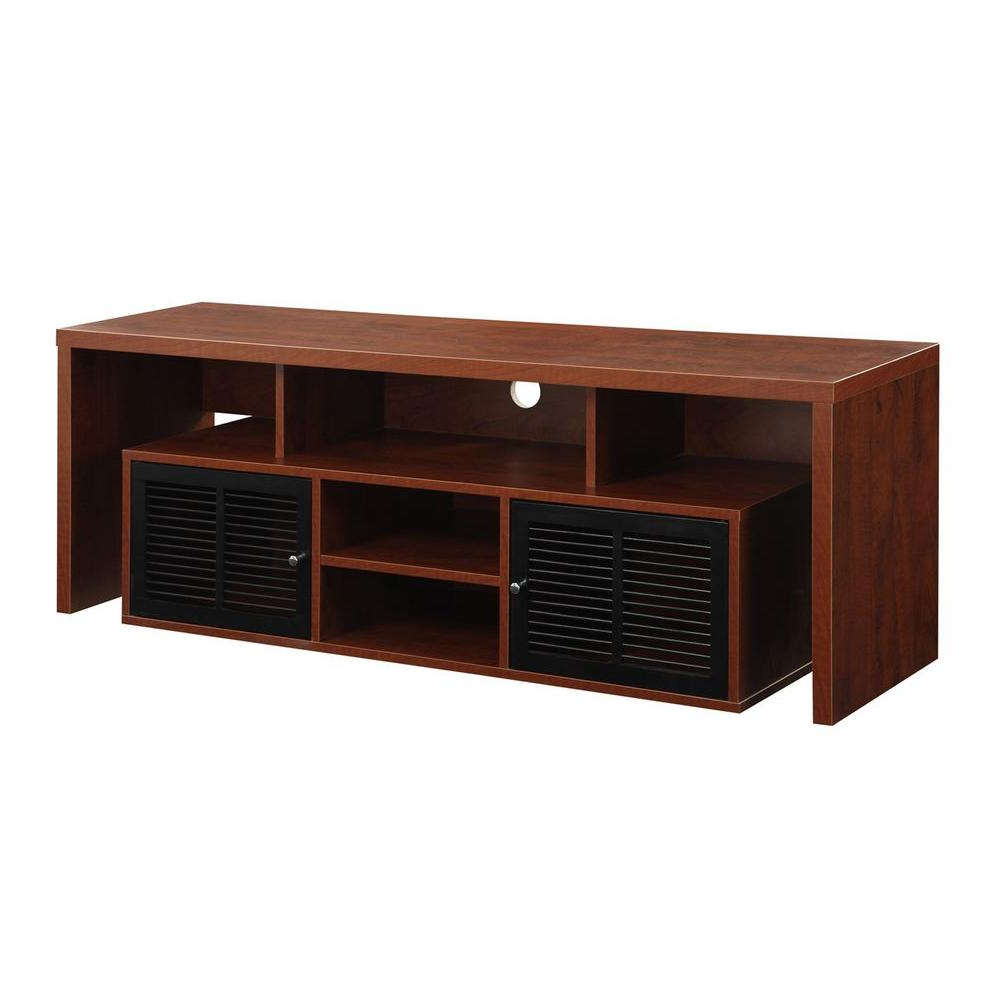 Lauderdale 74 Inch Tv Stands In Popular Sauder Beginnings Cinnamon Cherry Shelved Entertainment Center (Gallery 15 of 20)