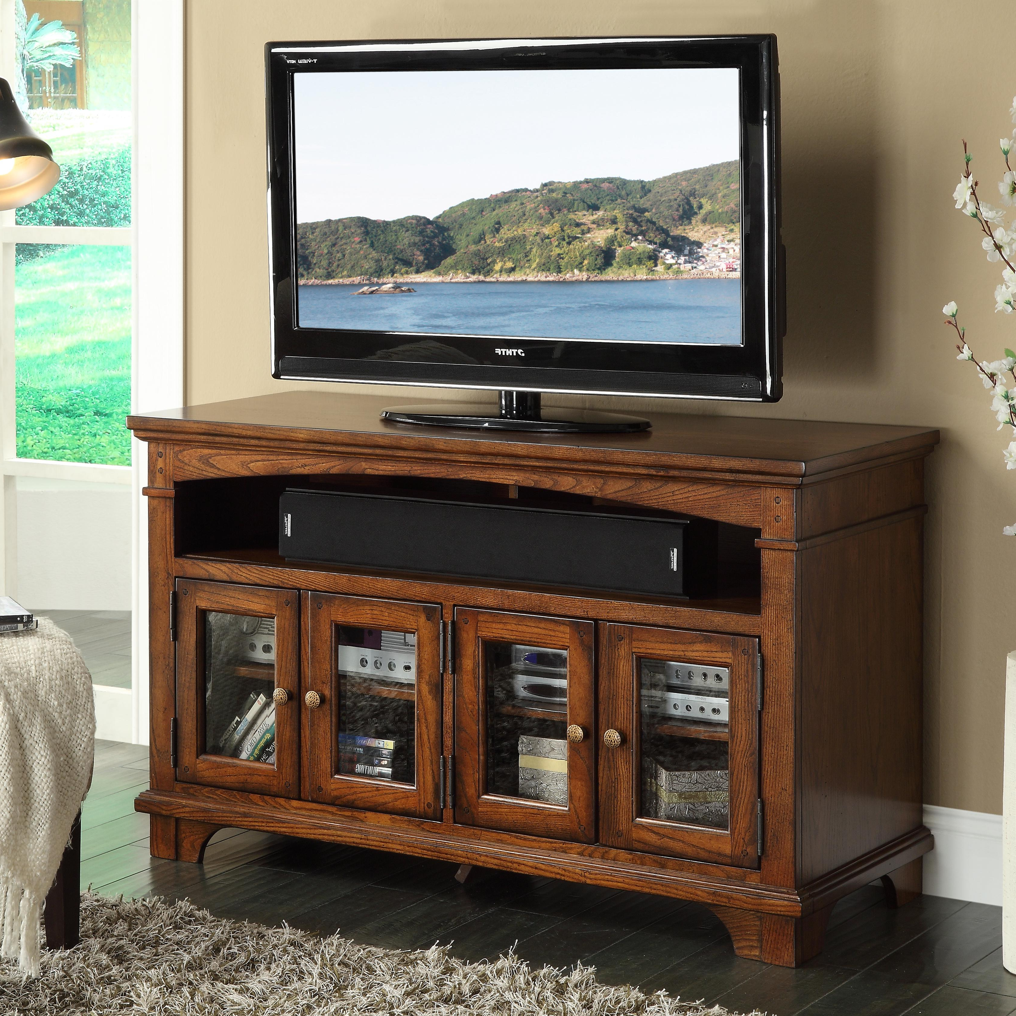 "Lauderdale 74 Inch Tv Stands Intended For Preferred Riverside Furniture Marston 60"" Tv Console With Framed Glass Doors (View 8 of 20)"