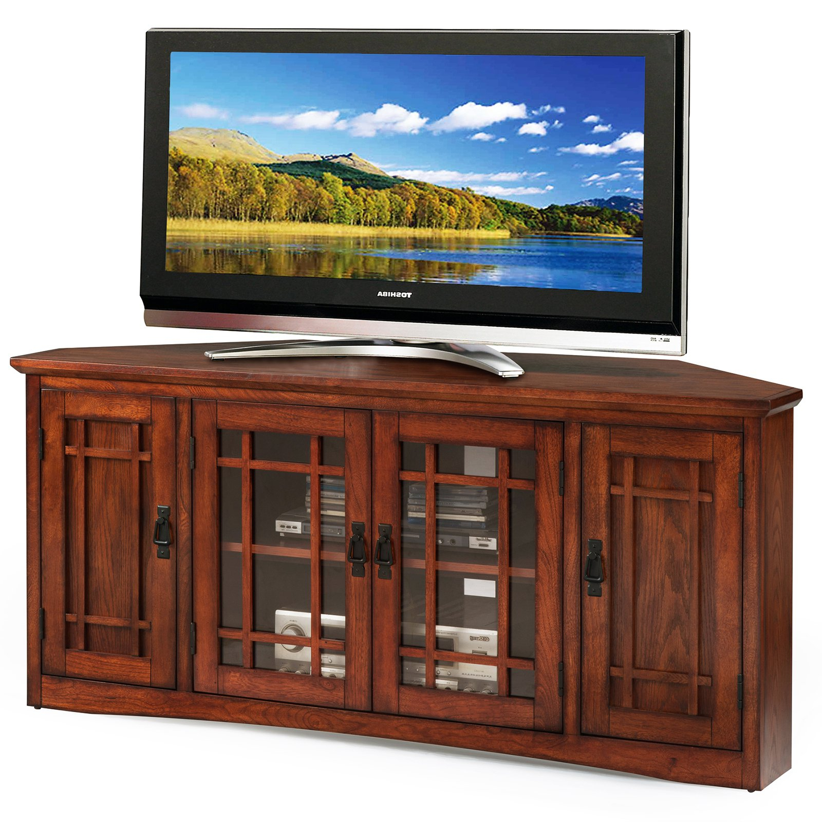 "Leick Home 56"" Corner Tv Stand For Tv's Up To 60"", Mission Oak Intended For Popular Corner 60 Inch Tv Stands (View 5 of 20)"