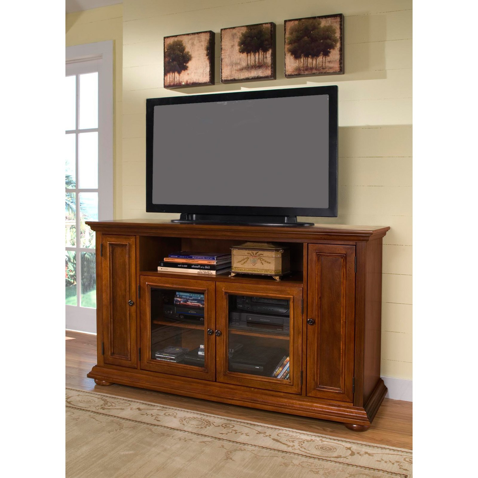 Light Brown Pine Wood Tv Stand With Storage Shelf Of Tall Intended For Most Up To Date Light Colored Tv Stands (View 8 of 20)