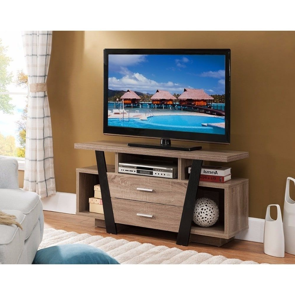 Light Colored Tv Stands Pertaining To Preferred Benzara Well Designed Modern Style Tv Stand, Black And Light Brown (View 11 of 20)