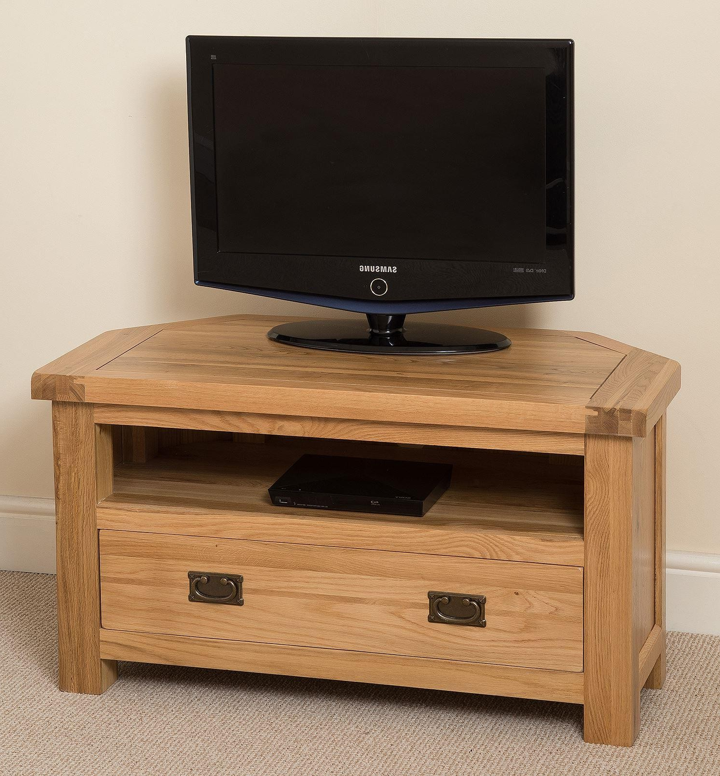 Light Oak Corner Tv Cabinets With Regard To Fashionable Cottage Light Solid Oak Corner Tv Unit (View 9 of 20)