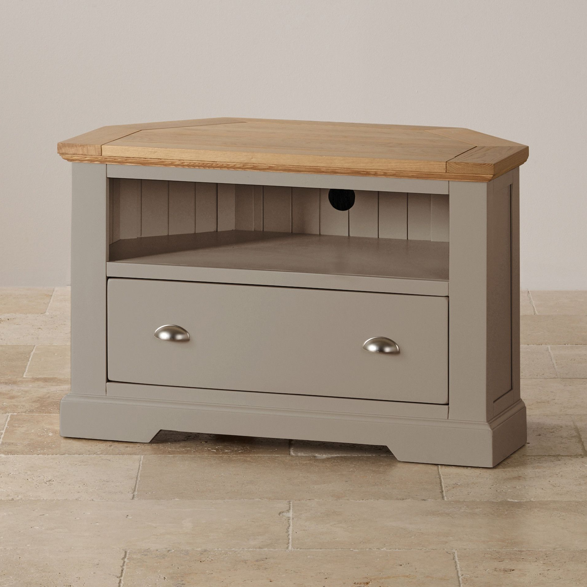 Light Oak Tv Cabinets Pertaining To Famous St Ives Natural Oak And Light Grey Painted Corner Tv Cabinet (View 6 of 20)