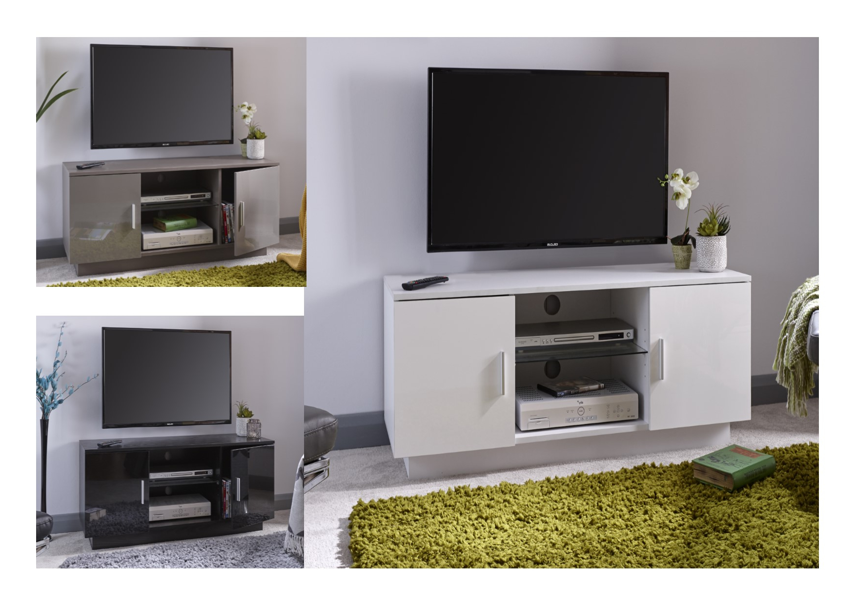 Lima High Gloss Tv Unit – Black, Grey Or White – Tv Cabinet With Throughout Fashionable White High Gloss Tv Unit (View 7 of 20)
