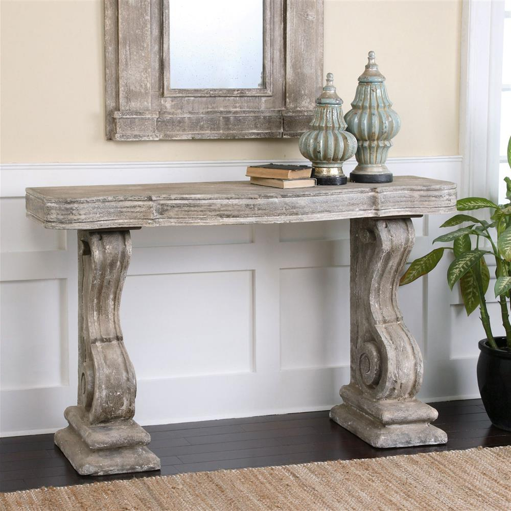 Lisette French Country Antique Grey Stone Carved Console Table Within Most Popular Hand Carved White Wash Console Tables (Gallery 19 of 20)