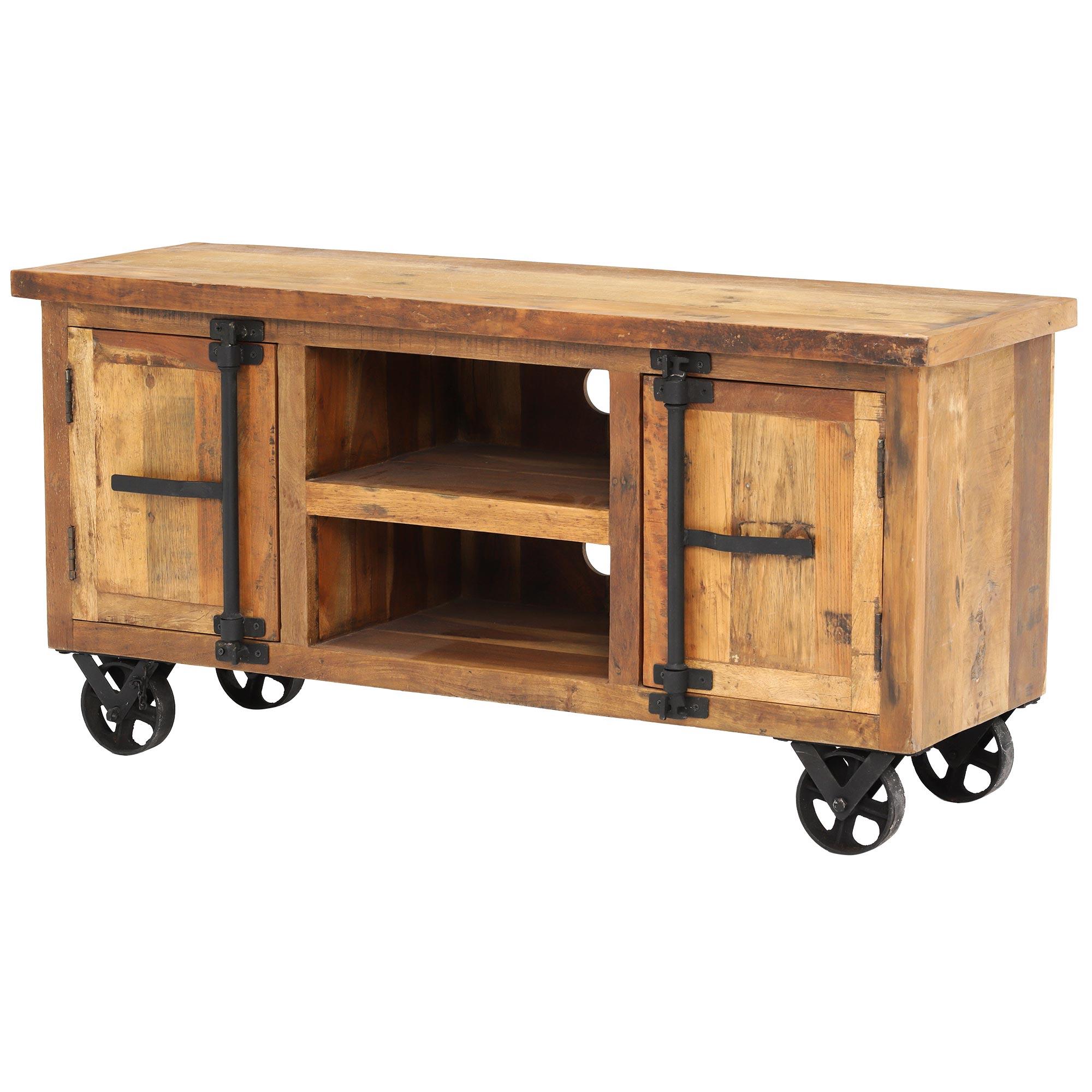 Little Tree Furniture Hyatt Reclaimed Wood Tv Unit On Wheels (View 9 of 20)