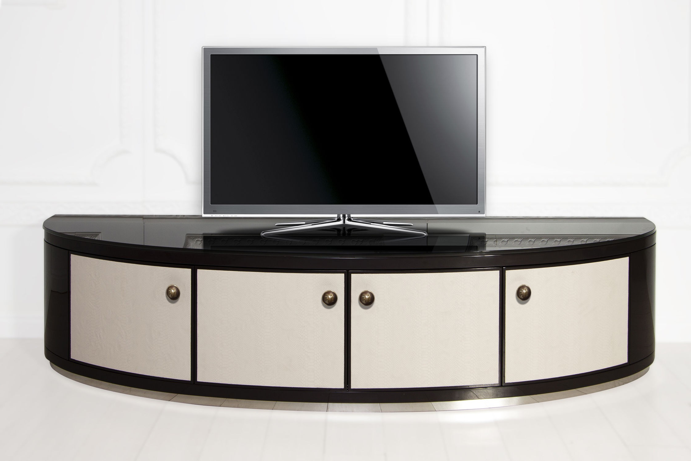 Lockable Tv Stands Regarding Well Liked Half Rounded Black Stained Wooden Tv Stand With White Door Panel And (Gallery 7 of 20)