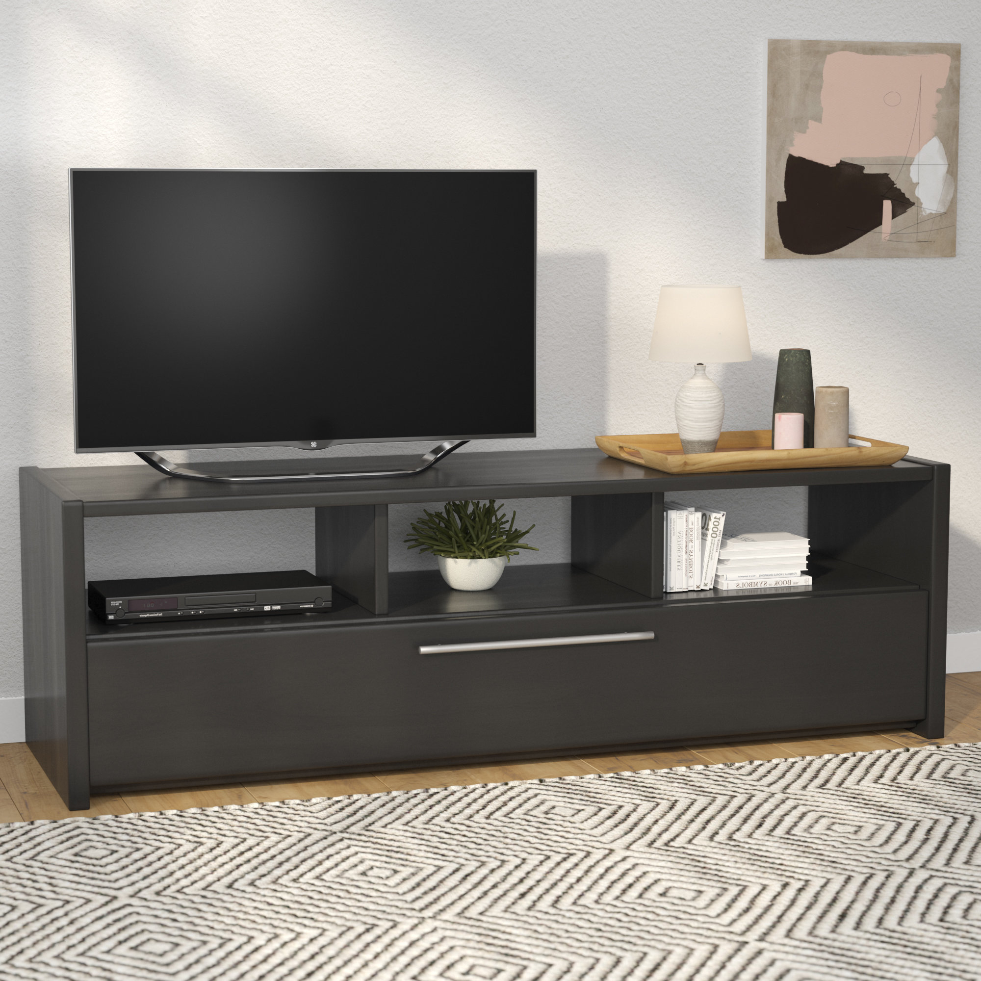 "Long Black Tv Stands With 2018 Latitude Run Isla Black Tv Stand For Tvs Up To 60"" & Reviews (View 16 of 20)"