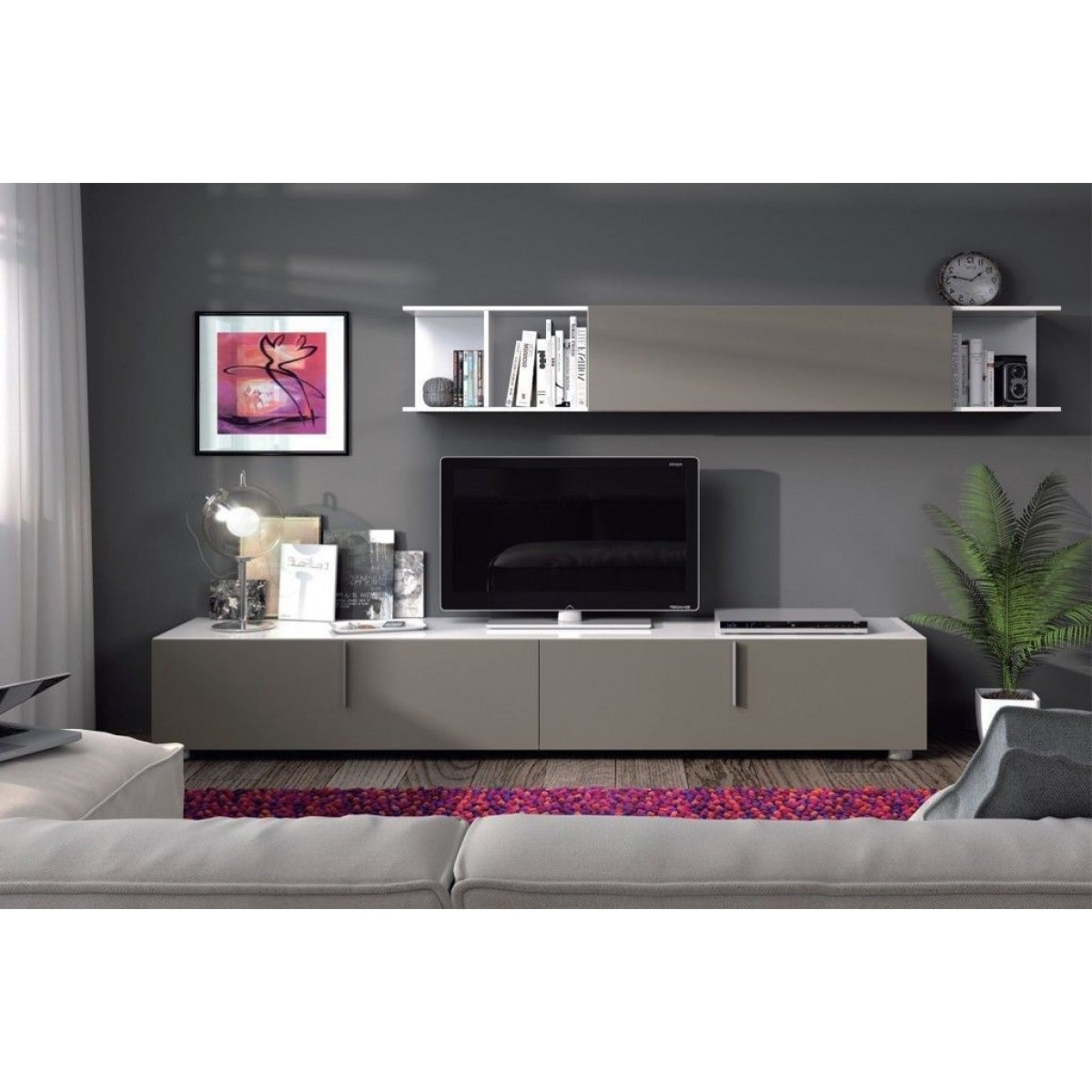Long Tv Stands With Regard To Best And Newest Maura Basalt Grey & White Long Tv Stand Cupboard Set – Home Done (View 19 of 20)