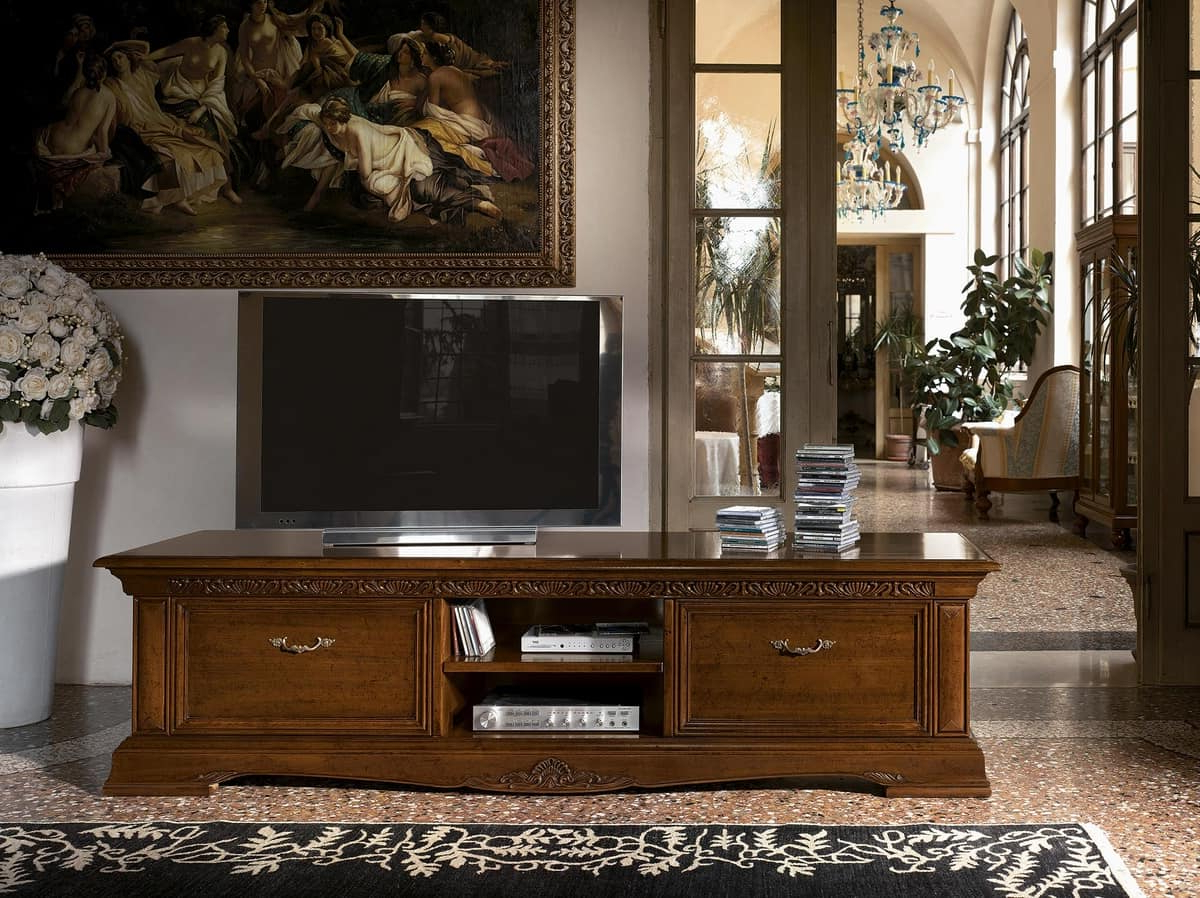 Long Wooden Tv Stand, For Luxury Classic Living Rooms (View 15 of 20)