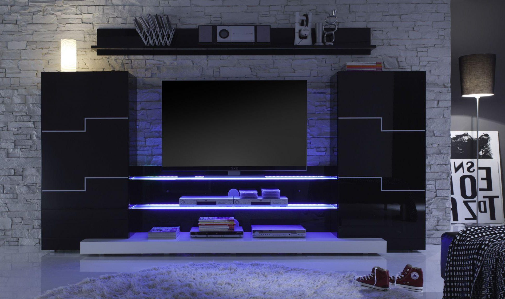 Lovely Tv Wall Units For Living Room 4 Modern Tv Wall Unit Design In Well Known Black Gloss Tv Wall Units (View 12 of 20)