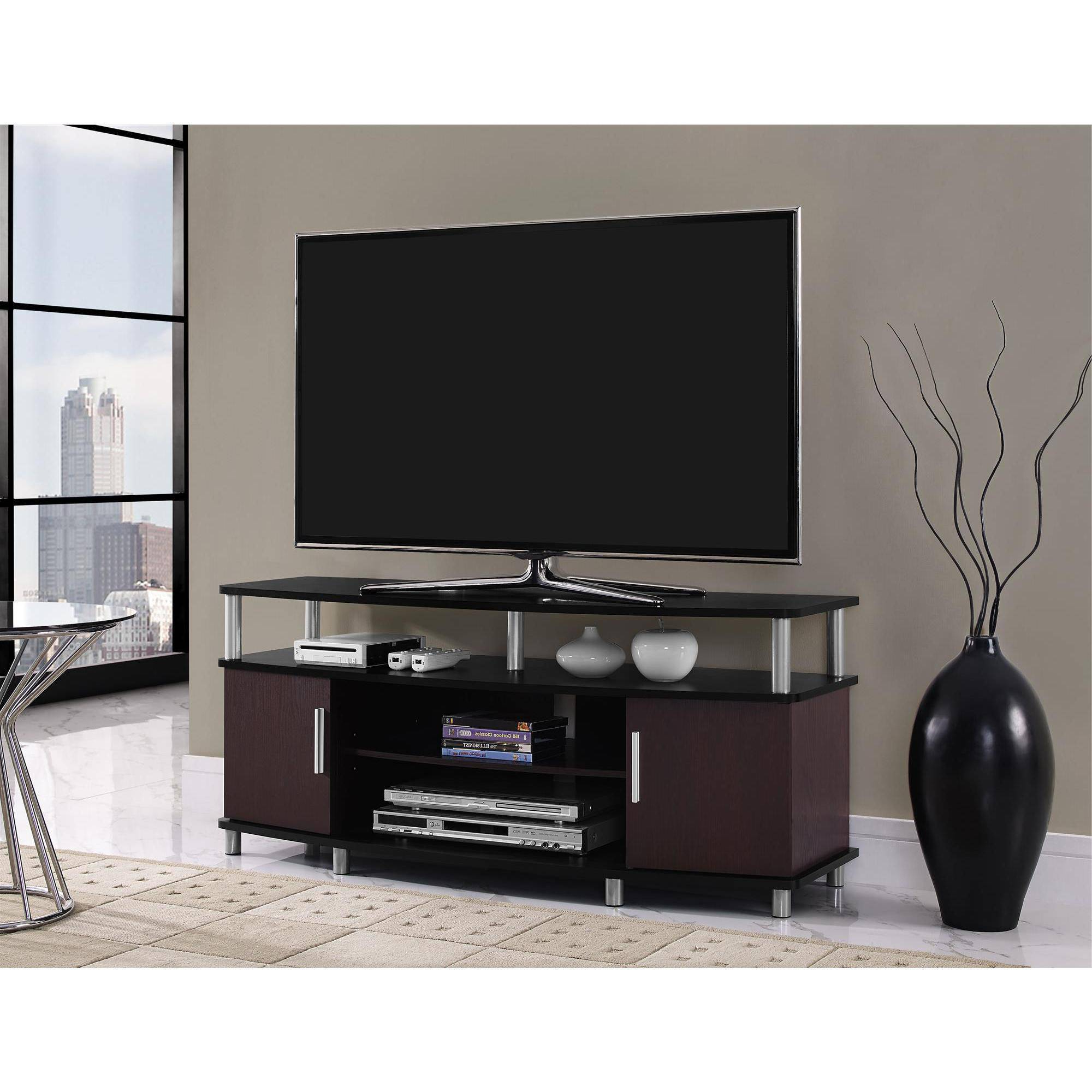 "Low Level Tv Storage Units With Current Carson Tv Stand, For Tvs Up To 50"", Multiple Finishes – Walmart (Gallery 14 of 20)"