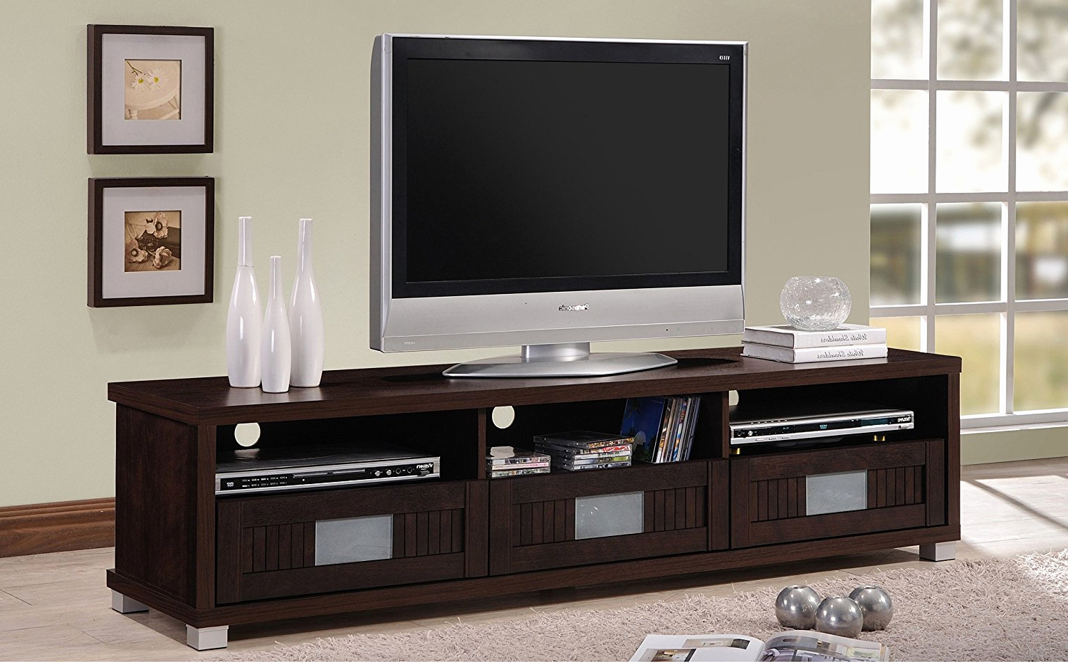 Low Media Console Furniture Extra Long Cabinet Profile 90 Inch Wide Within Widely Used Extra Long Tv Stands (View 7 of 20)